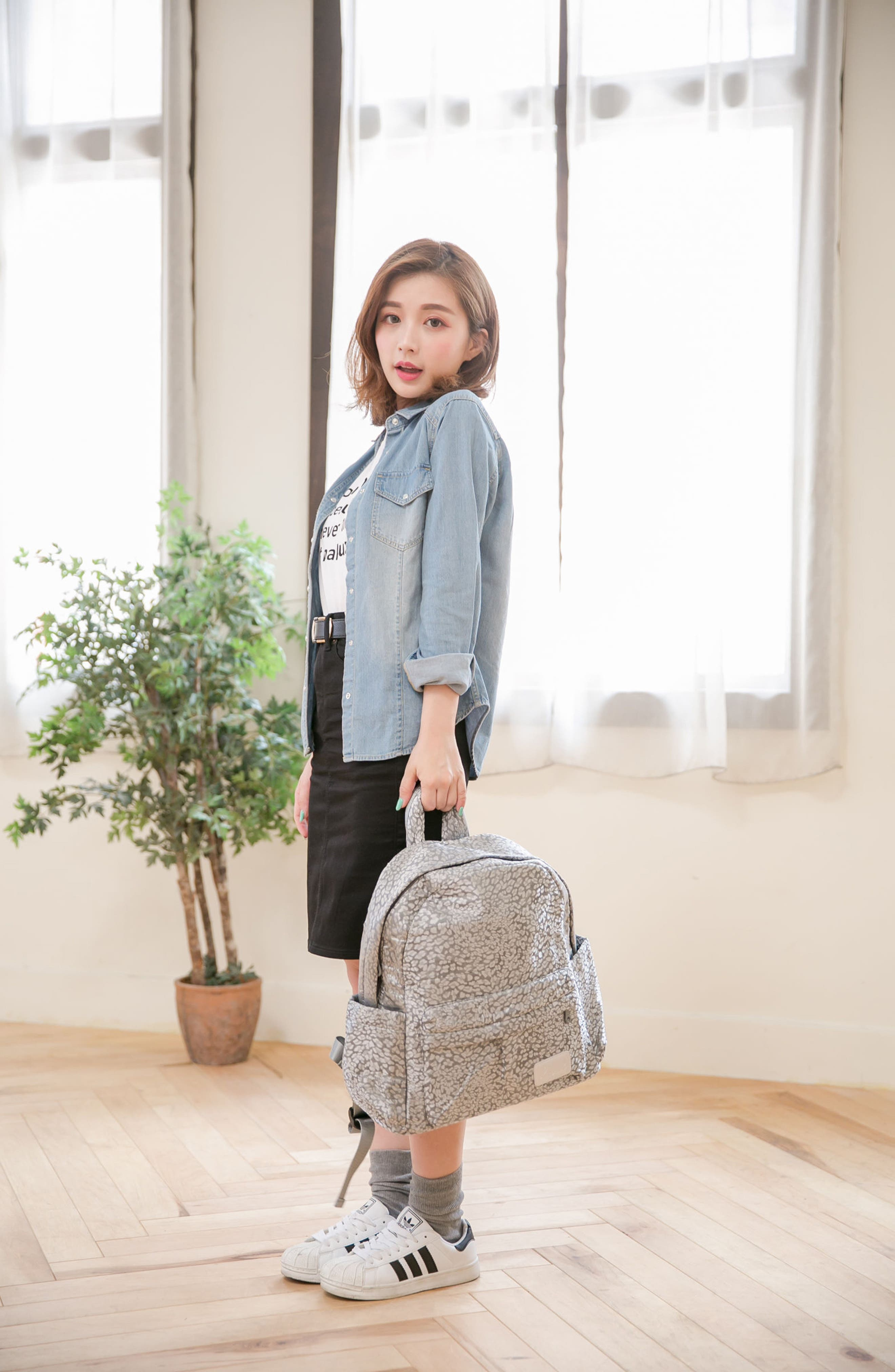 Print Water Repellent Diaper Backpack,                             Alternate thumbnail 6, color,                             SILVER LEOPARD
