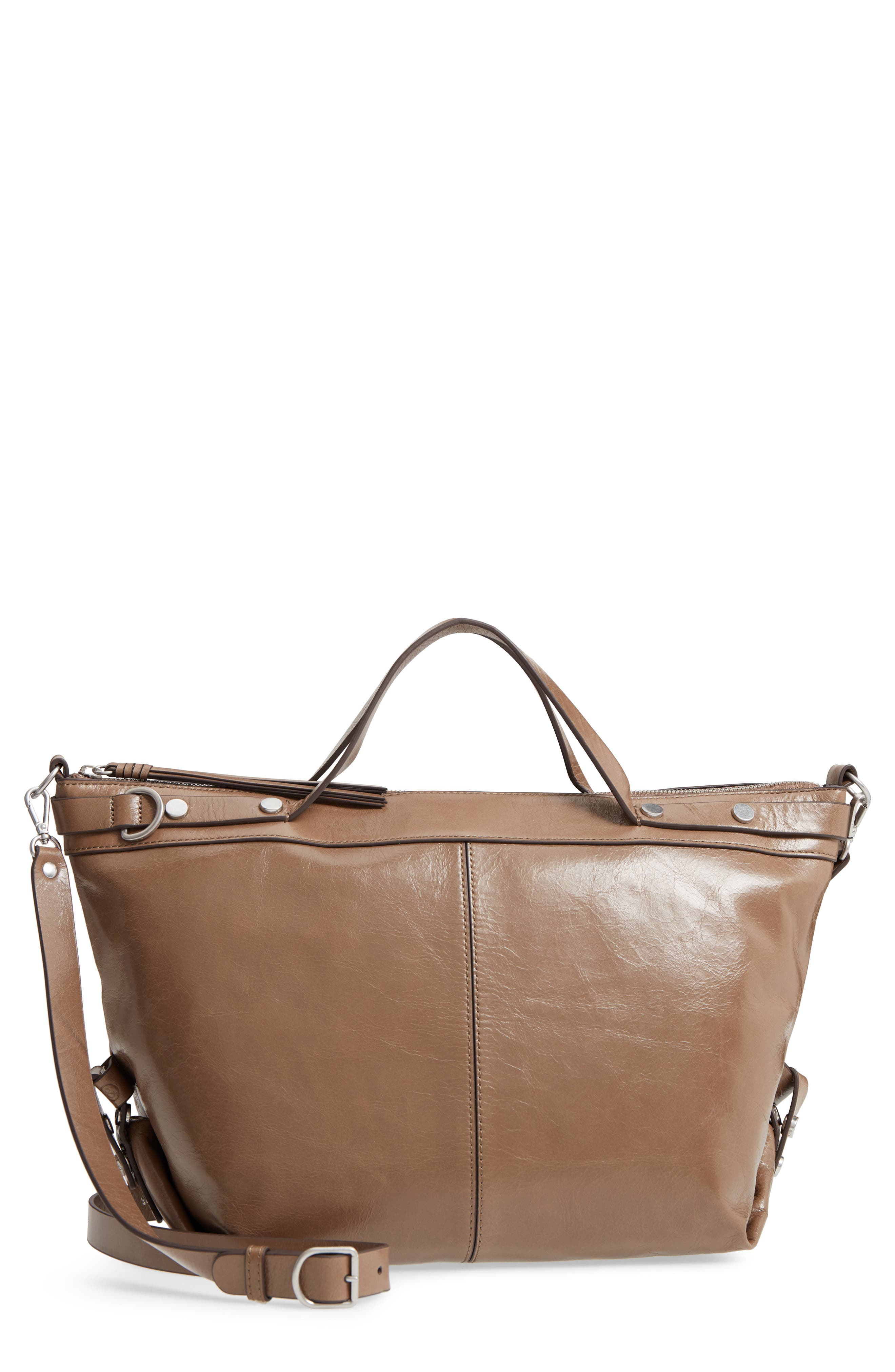 Perry Glazed Leather Convertible Satchel,                         Main,                         color, BEIGE BISCUIT
