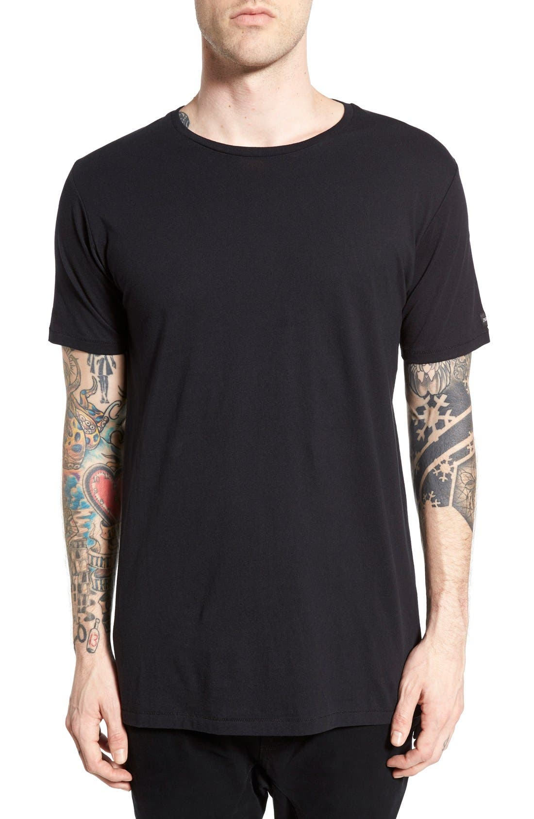 'Flintlock' Longline Crewneck T-Shirt,                             Main thumbnail 1, color,                             BLACK