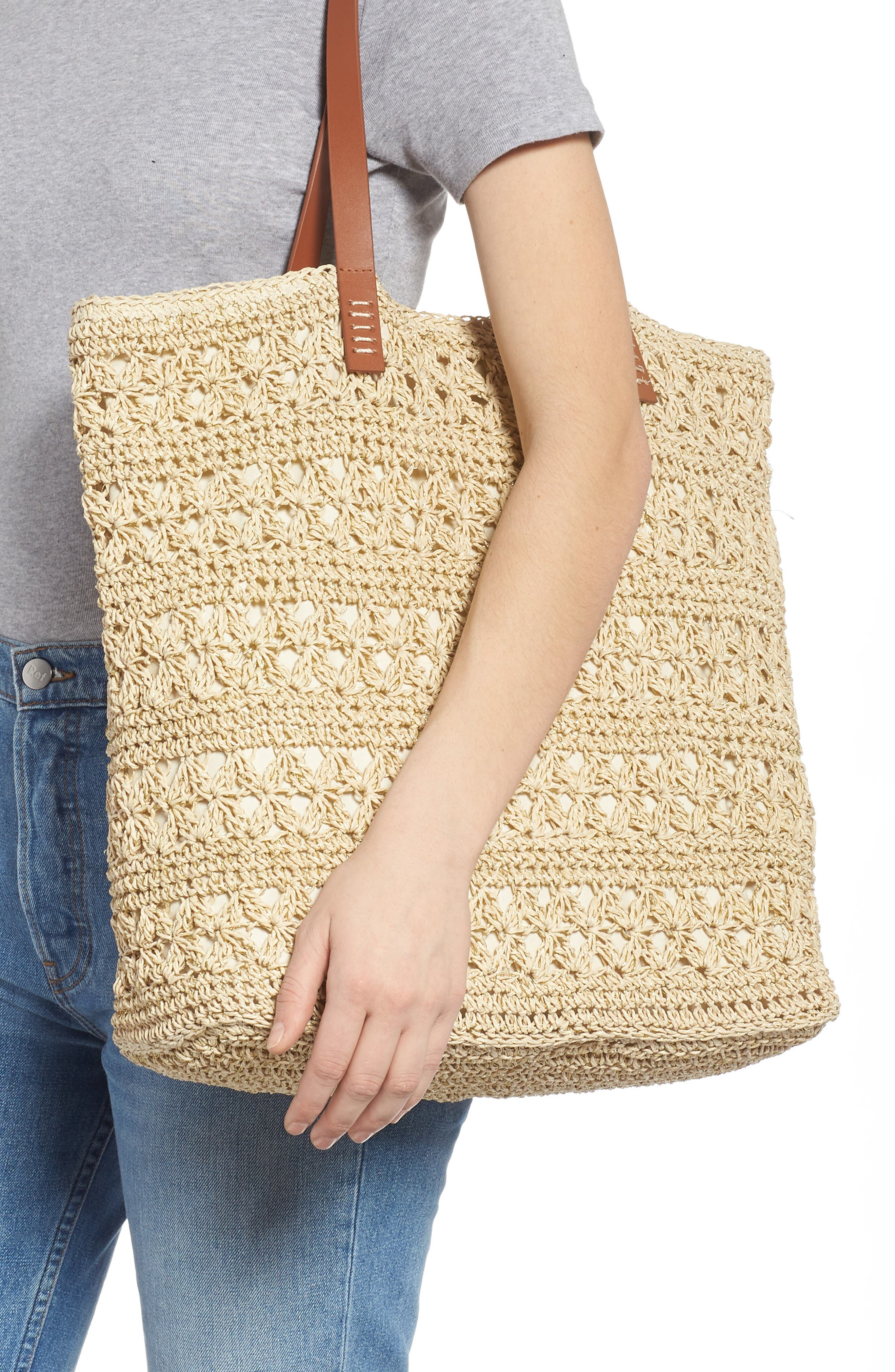 NORDSTROM,                             Packable Woven Raffia Tote,                             Alternate thumbnail 2, color,                             NATURAL