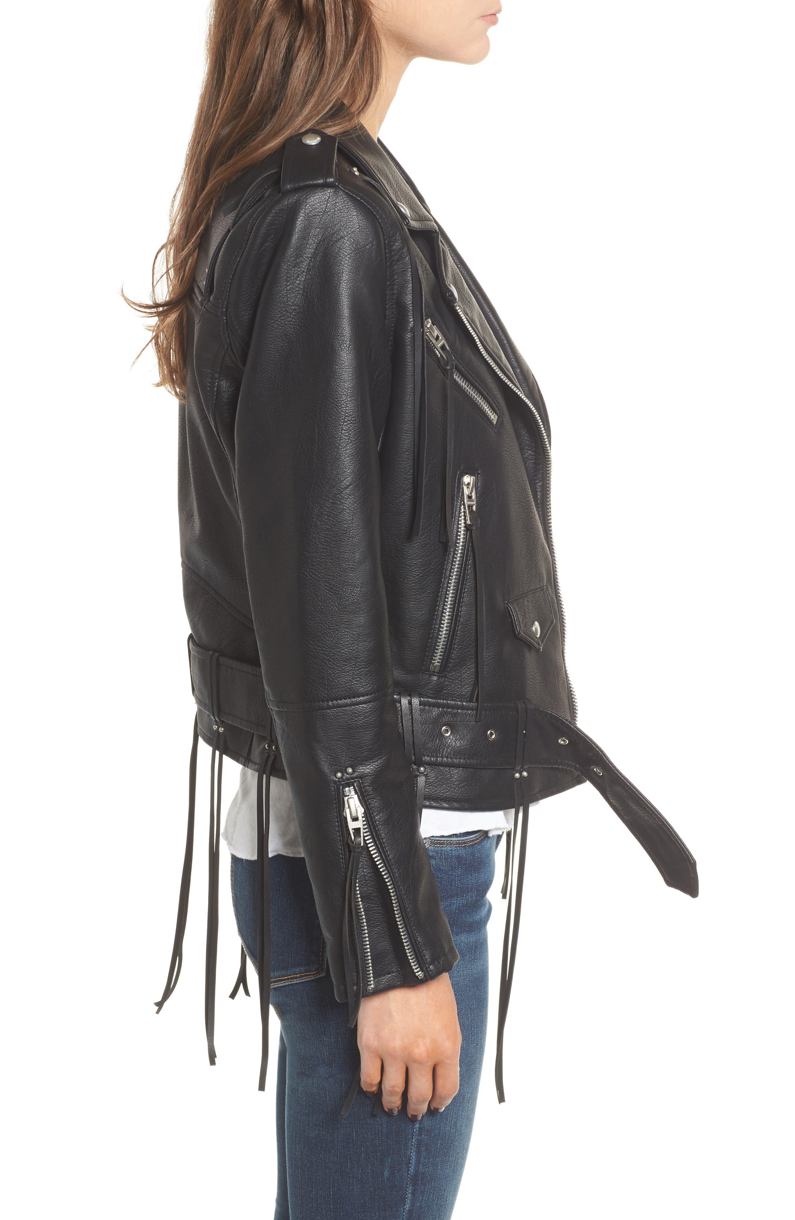 Faux Leather Tassel Moto Jacket,                             Alternate thumbnail 3, color,                             001
