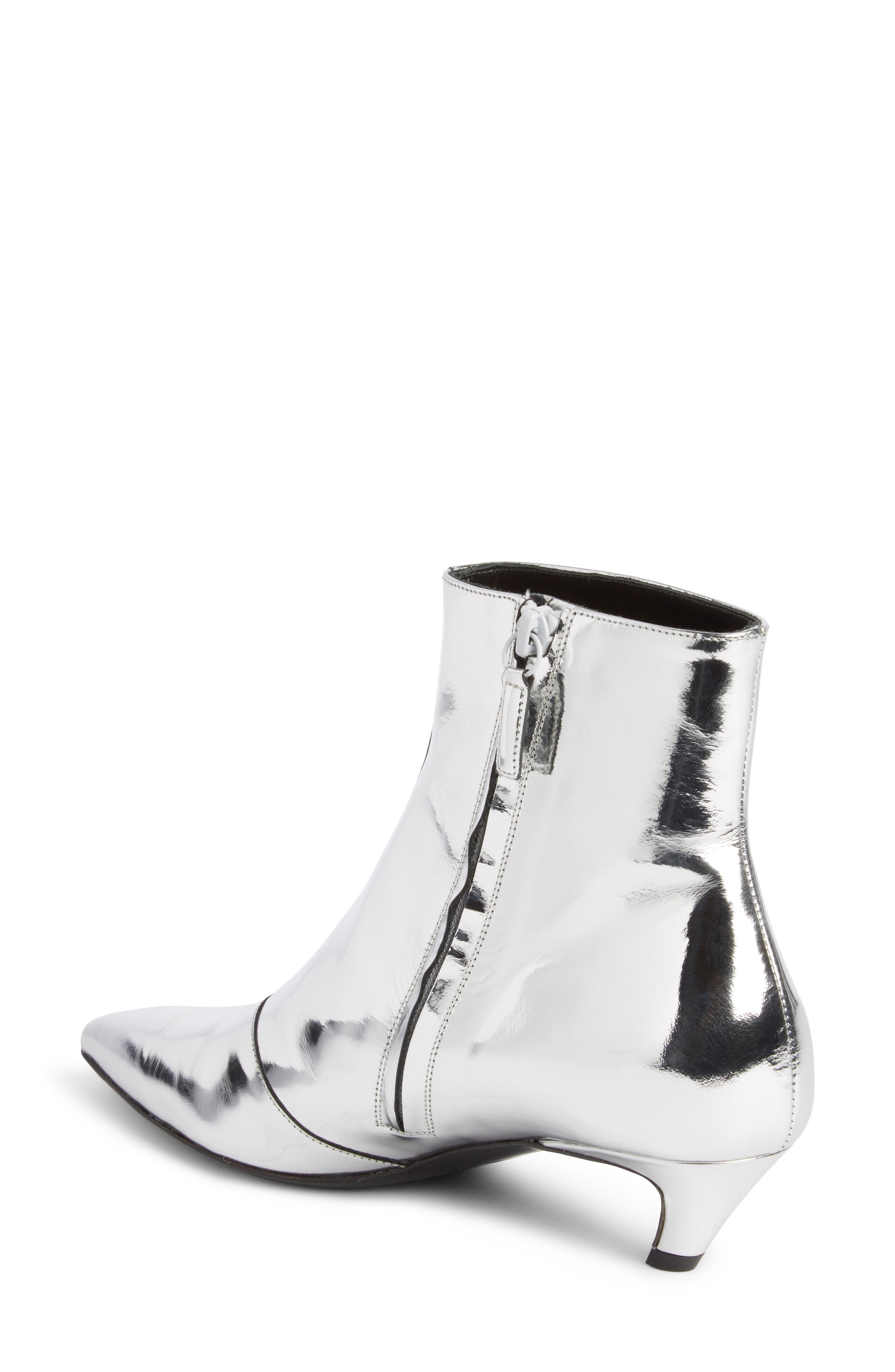 Metallic Pointy Toe Bootie,                             Alternate thumbnail 2, color,                             SILVER