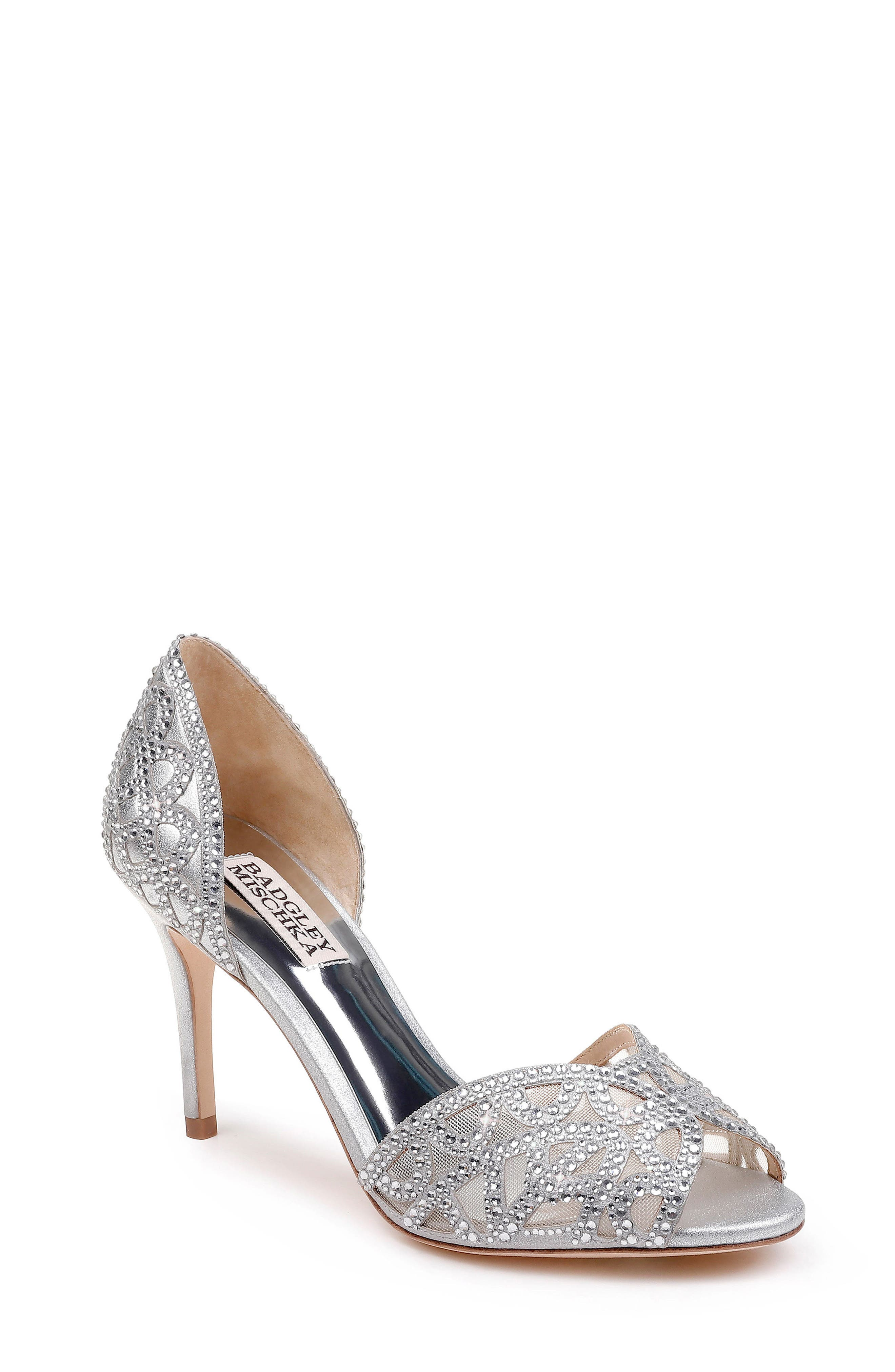 Harris Peep Toe Pump,                             Main thumbnail 1, color,                             SILVER METALLIC SUEDE