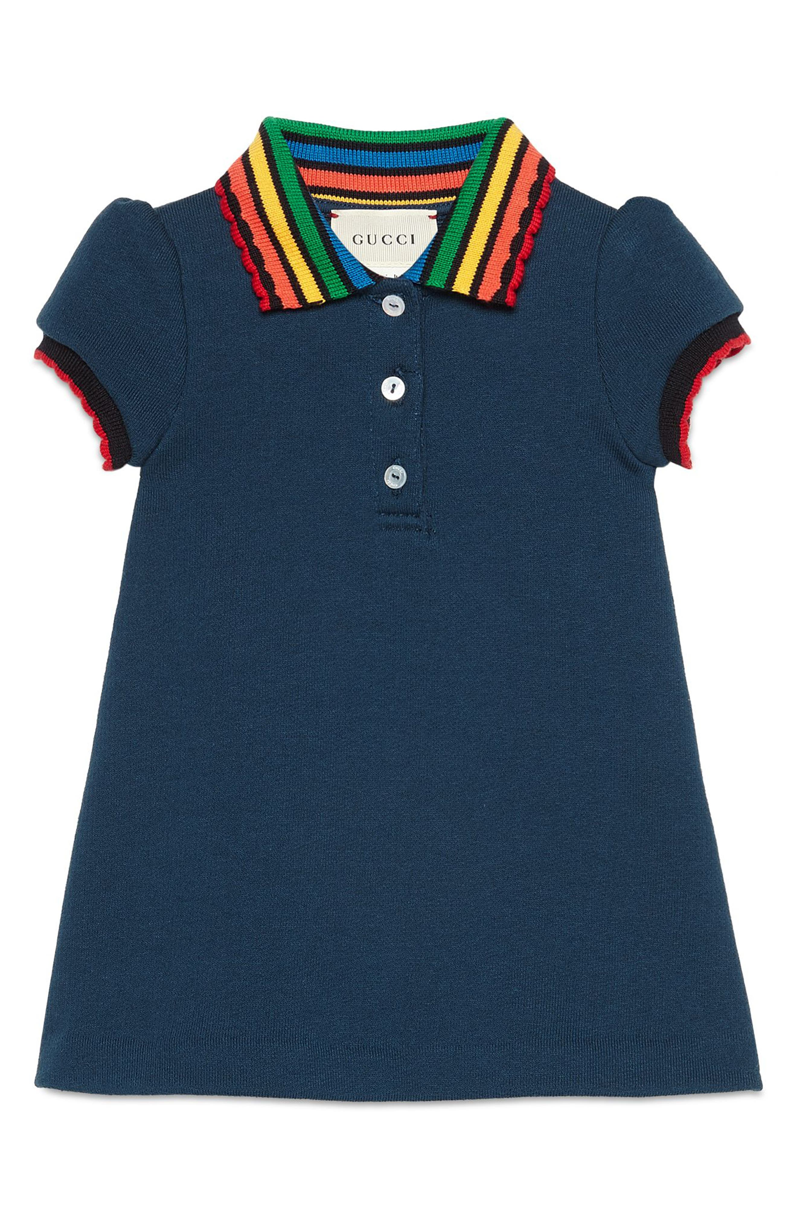 GUCCI,                             Fawns Polo Dress,                             Main thumbnail 1, color,                             PRUSSIAN BLUE/ MULTIC
