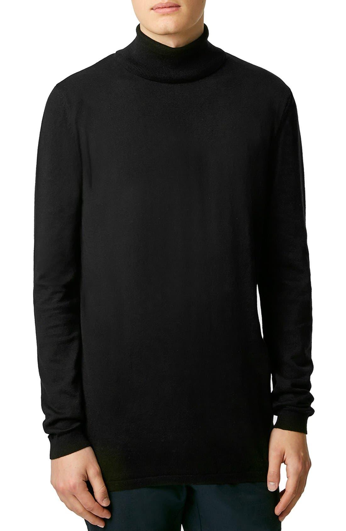 Longline Turtleneck Sweater, Main, color, 001