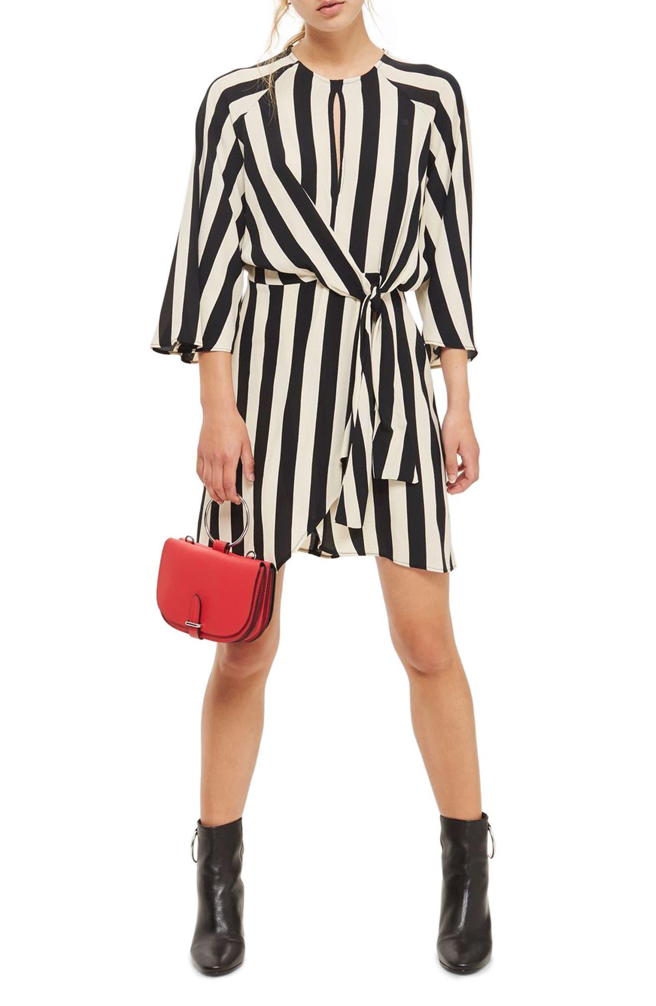 Humbug Stripe Knot Dress,                             Alternate thumbnail 3, color,                             001