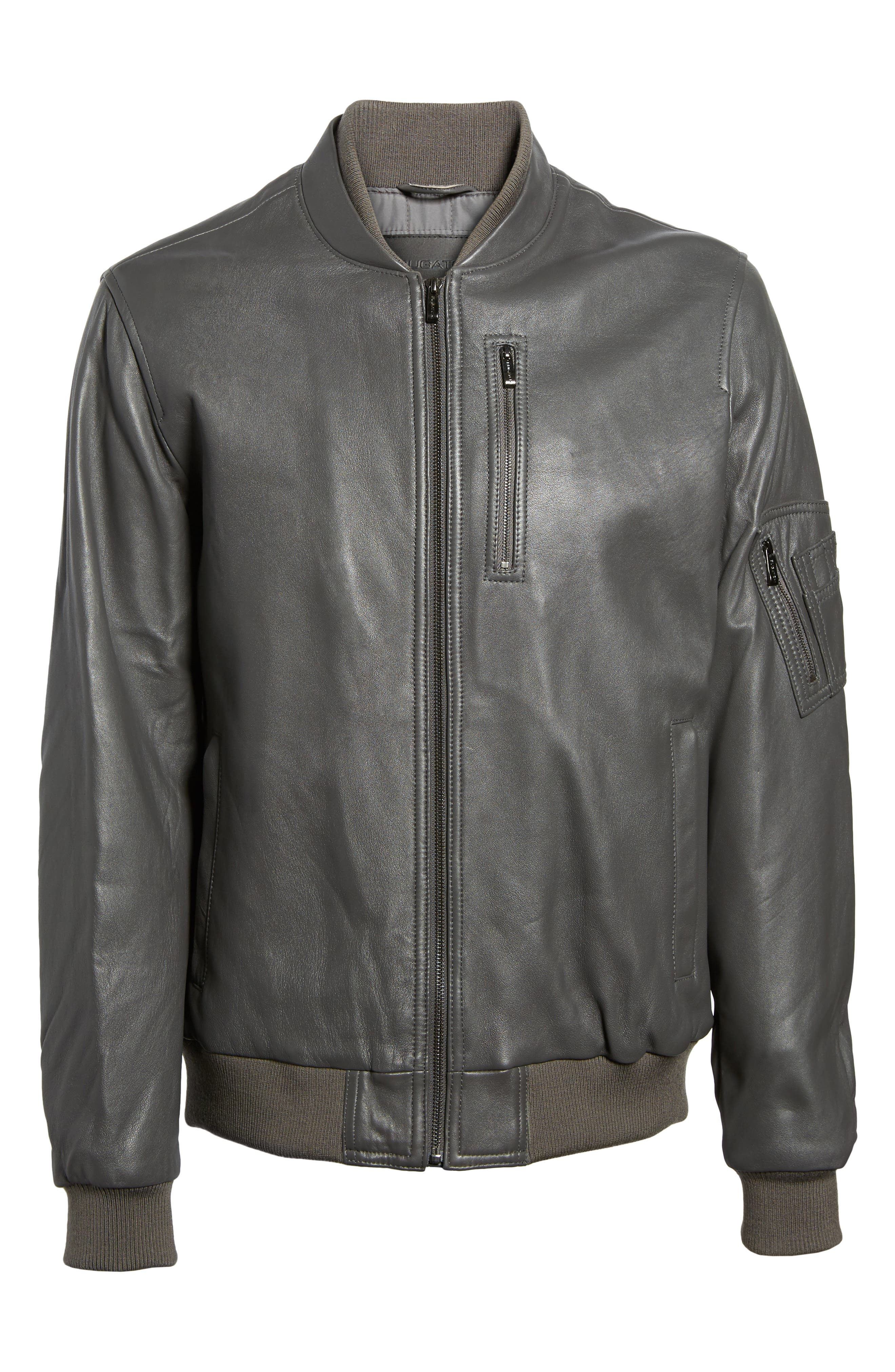 Leather Bomber Jacket,                             Alternate thumbnail 5, color,                             020