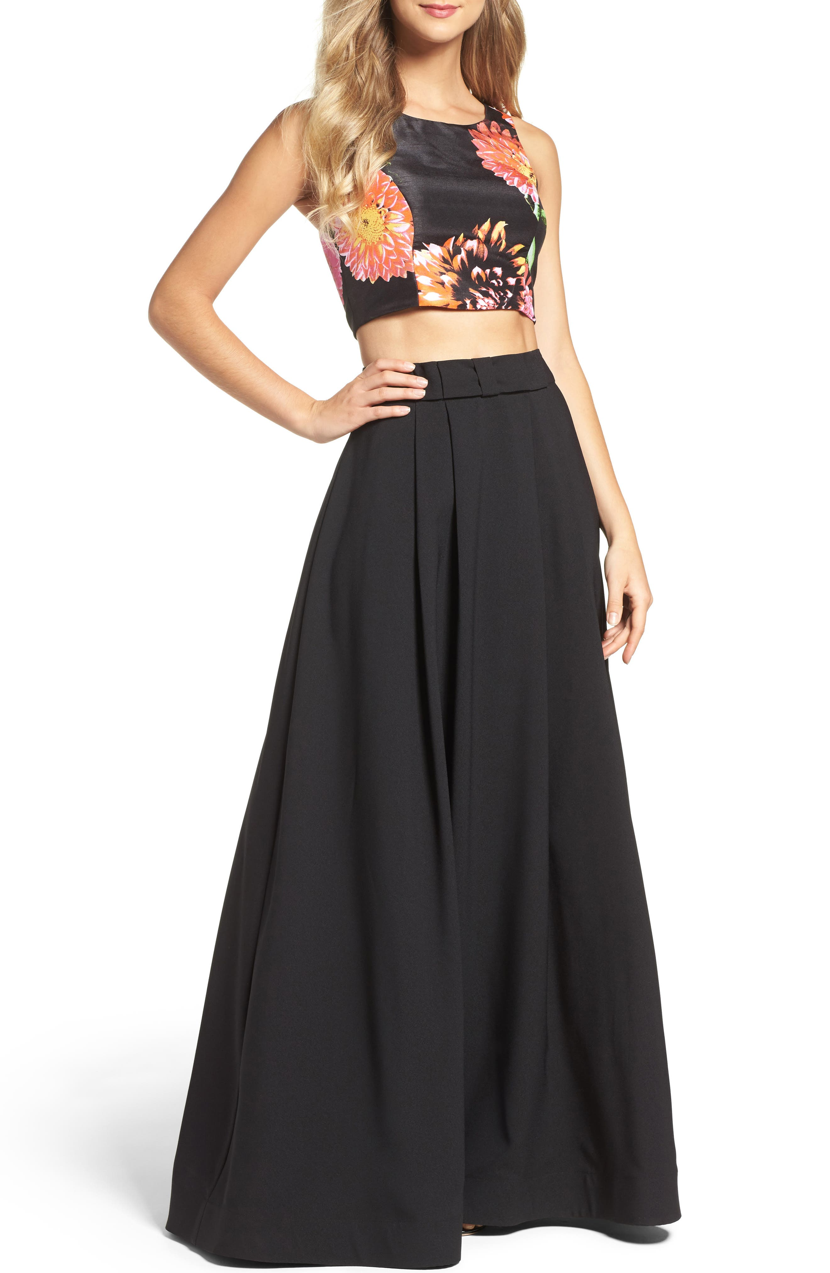 Two-Piece Gown,                         Main,                         color, 001