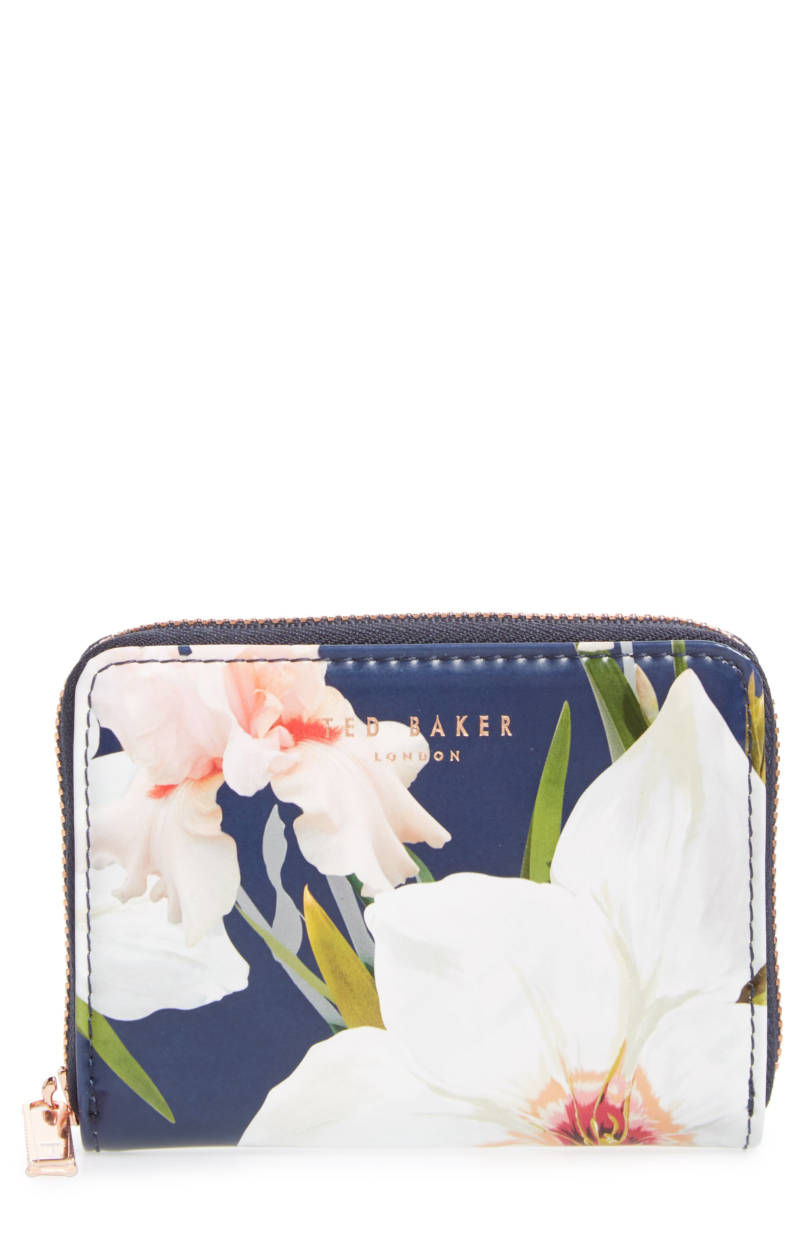 Vallie Chatsworth Bloom Leather Zip Coin Purse,                             Main thumbnail 2, color,