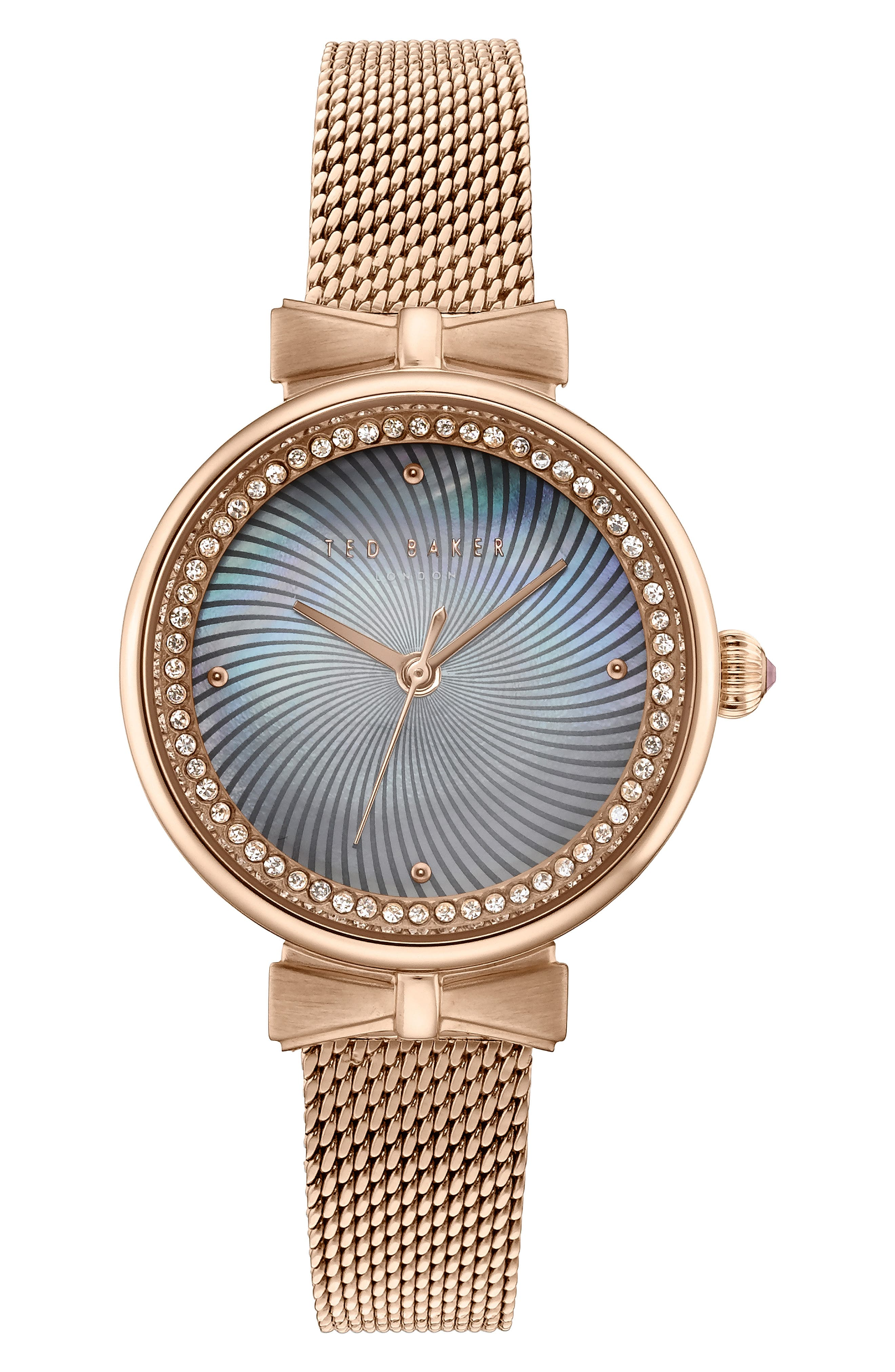 Jessica Mesh Strap Watch, 30mm,                             Main thumbnail 1, color,                             ROSE GOLD/ MOP/ ROSE GOLD