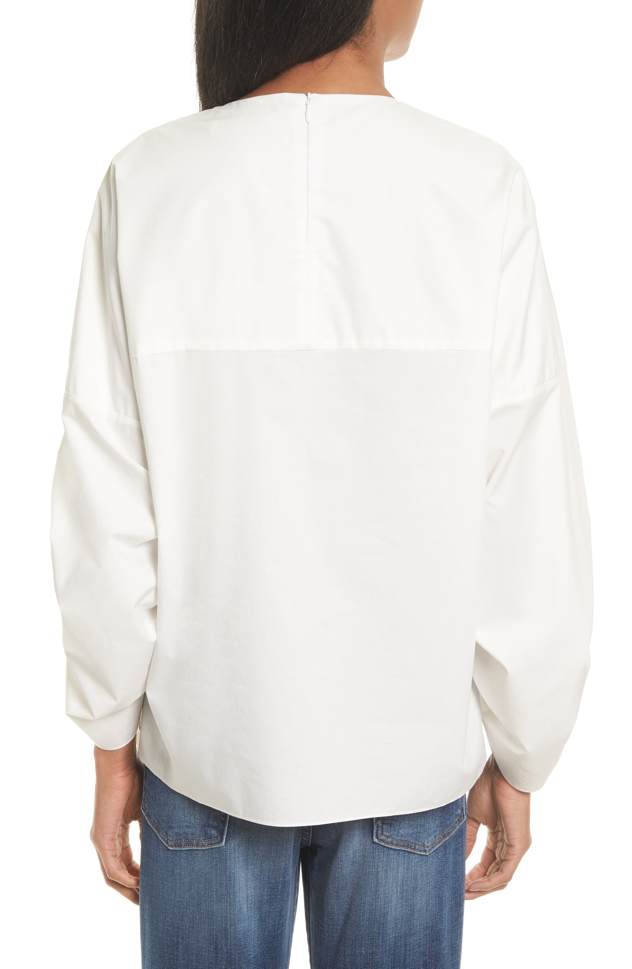 TIBI,                             Bell Sleeve Cotton Poplin Top,                             Alternate thumbnail 2, color,                             104