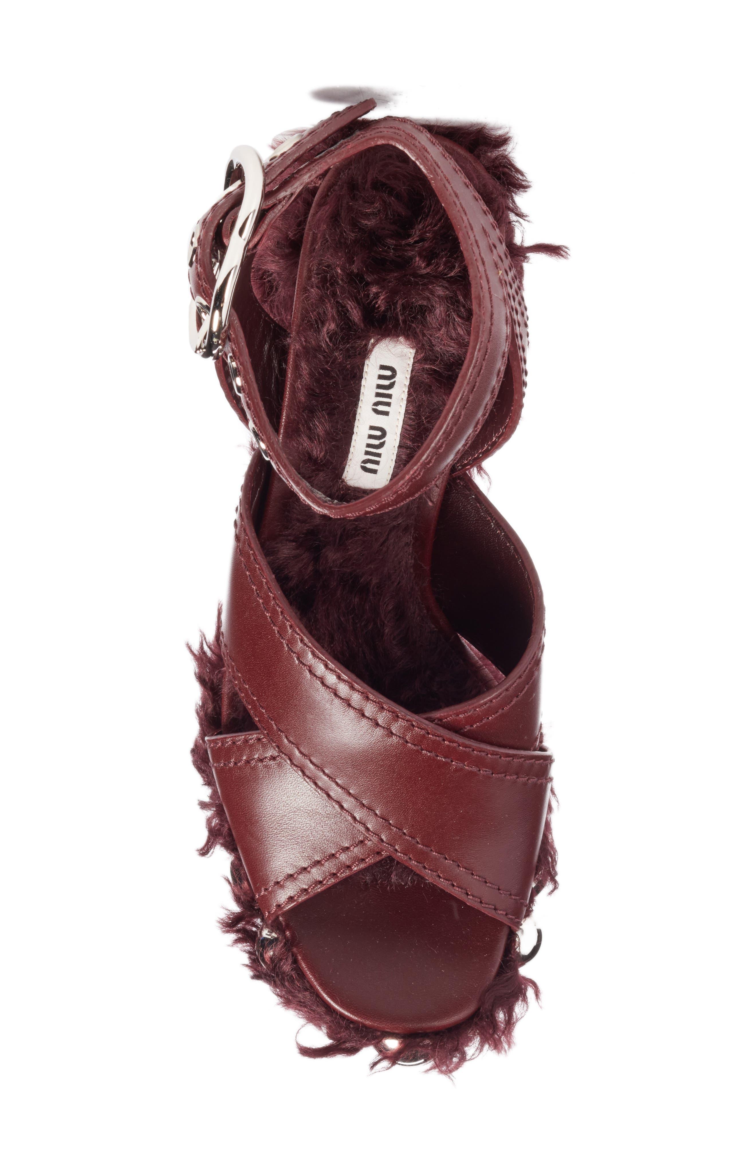 Faux Fur Platform Sandal,                             Alternate thumbnail 5, color,                             930