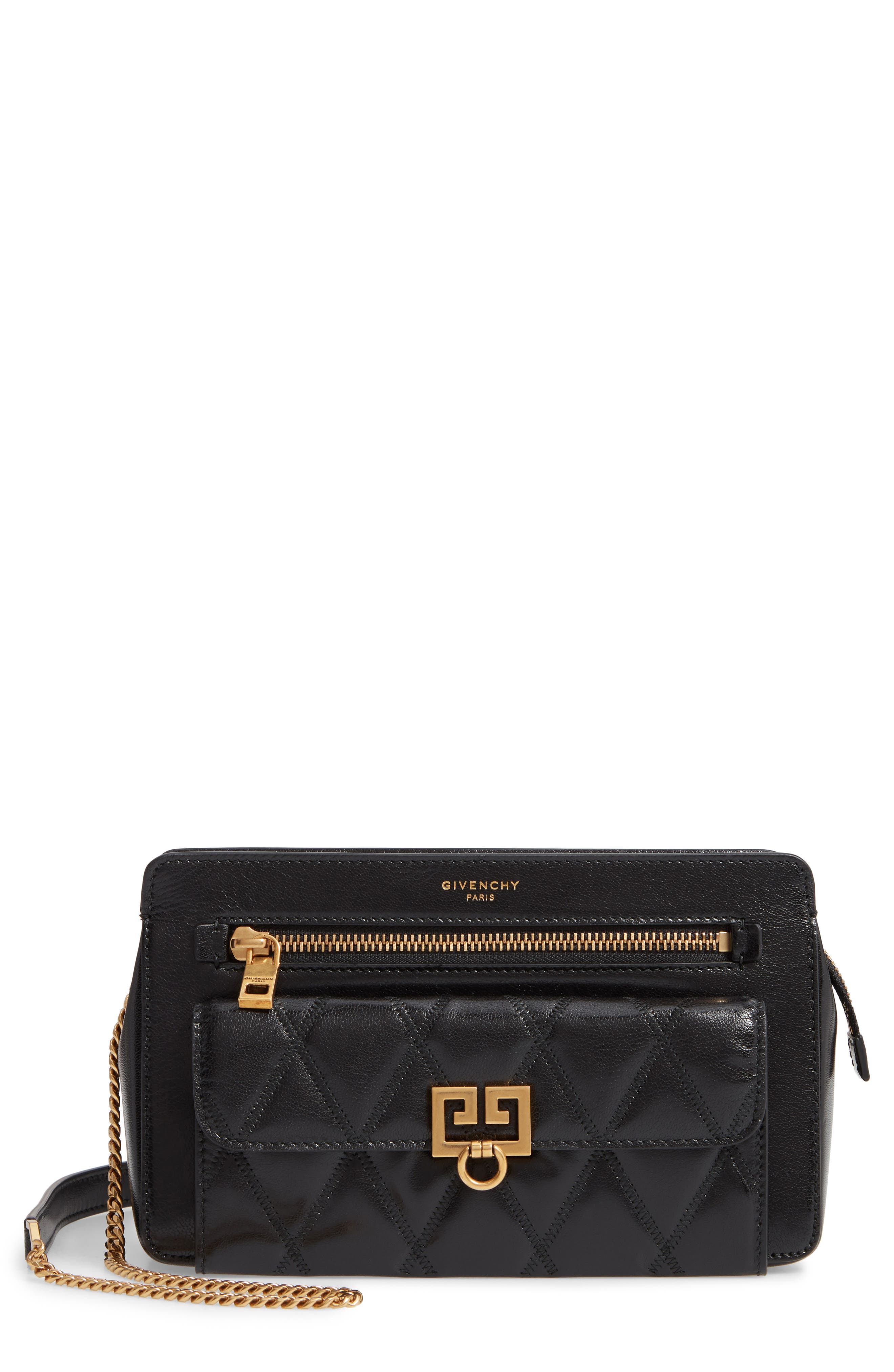 Diamond Quilted Leather Crossbody Bag,                         Main,                         color, BLACK