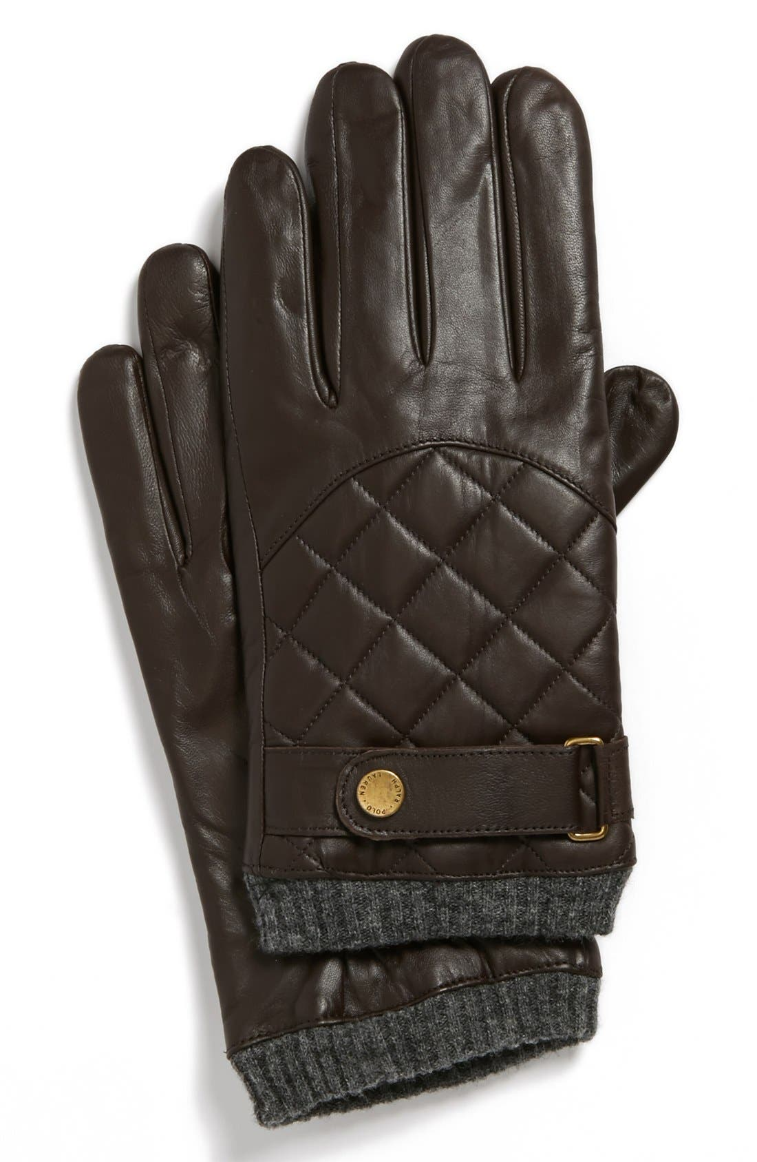 Polo Ralph Lauren Quilted Racing Gloves, Brown