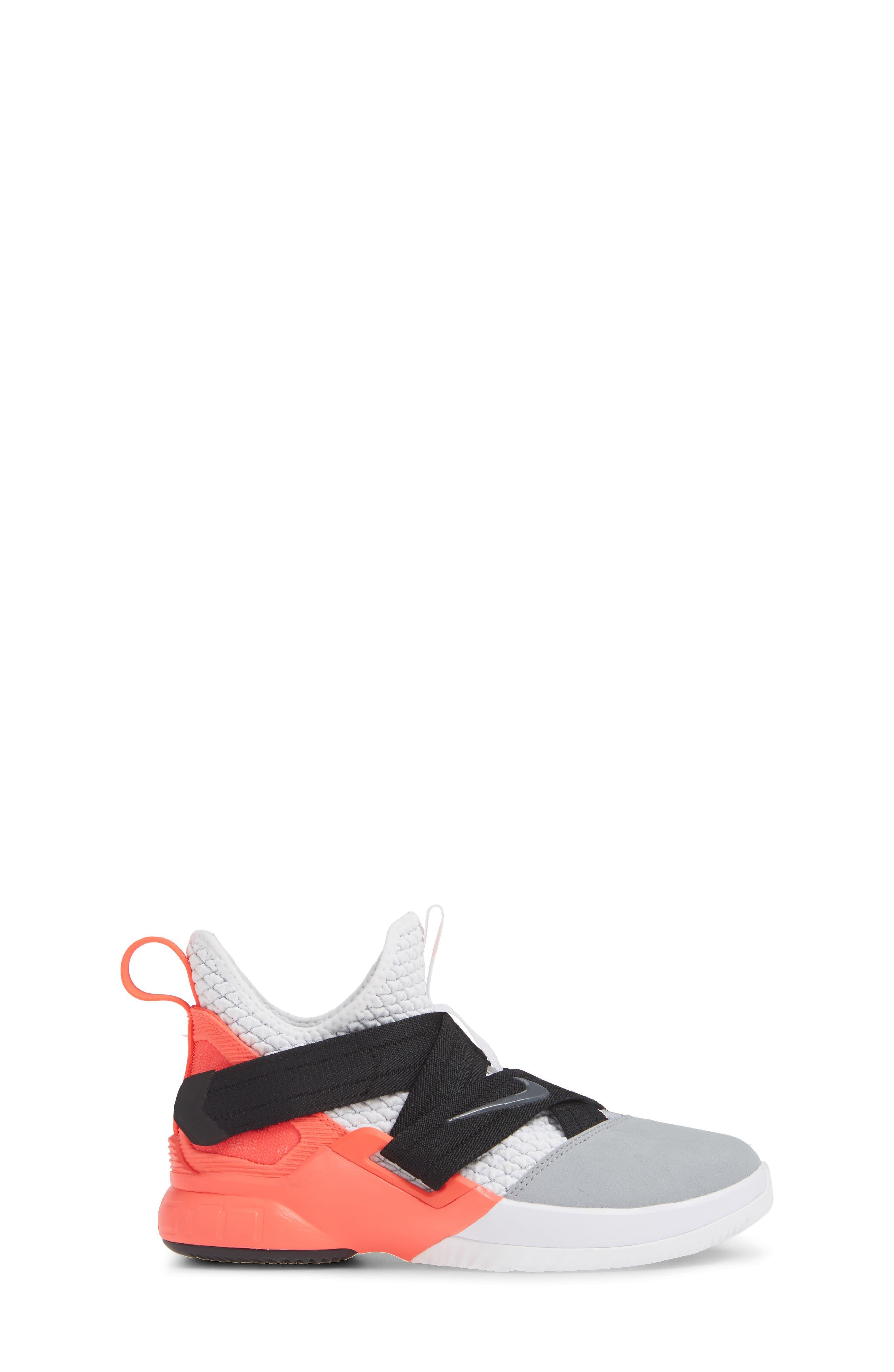 LeBron Soldier XII SFG Basketball Shoe,                             Alternate thumbnail 3, color,                             WHITE/ DARK GREY CRIMSON
