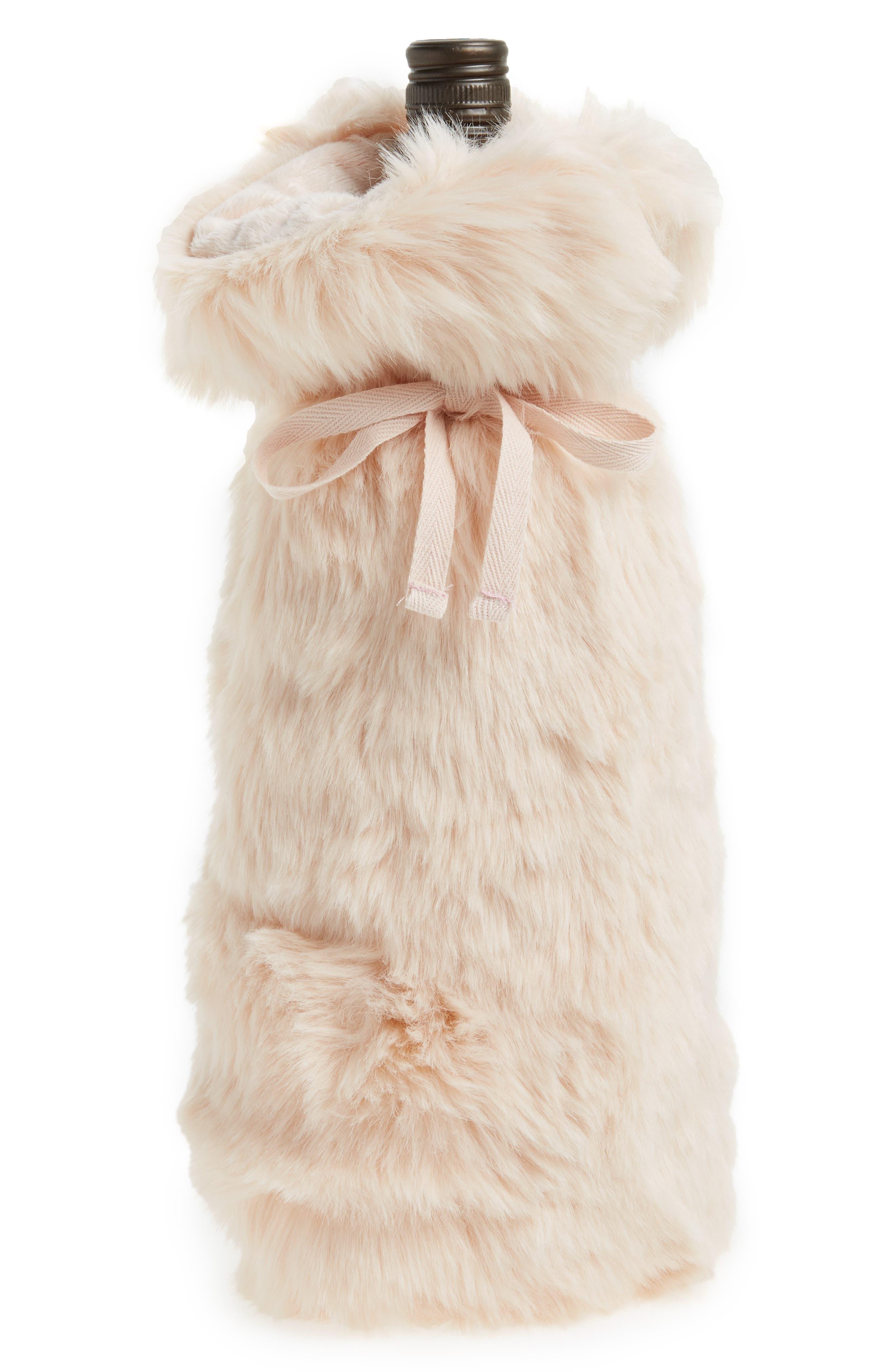 Cuddle Up Faux Fur Wine Bag,                             Main thumbnail 2, color,