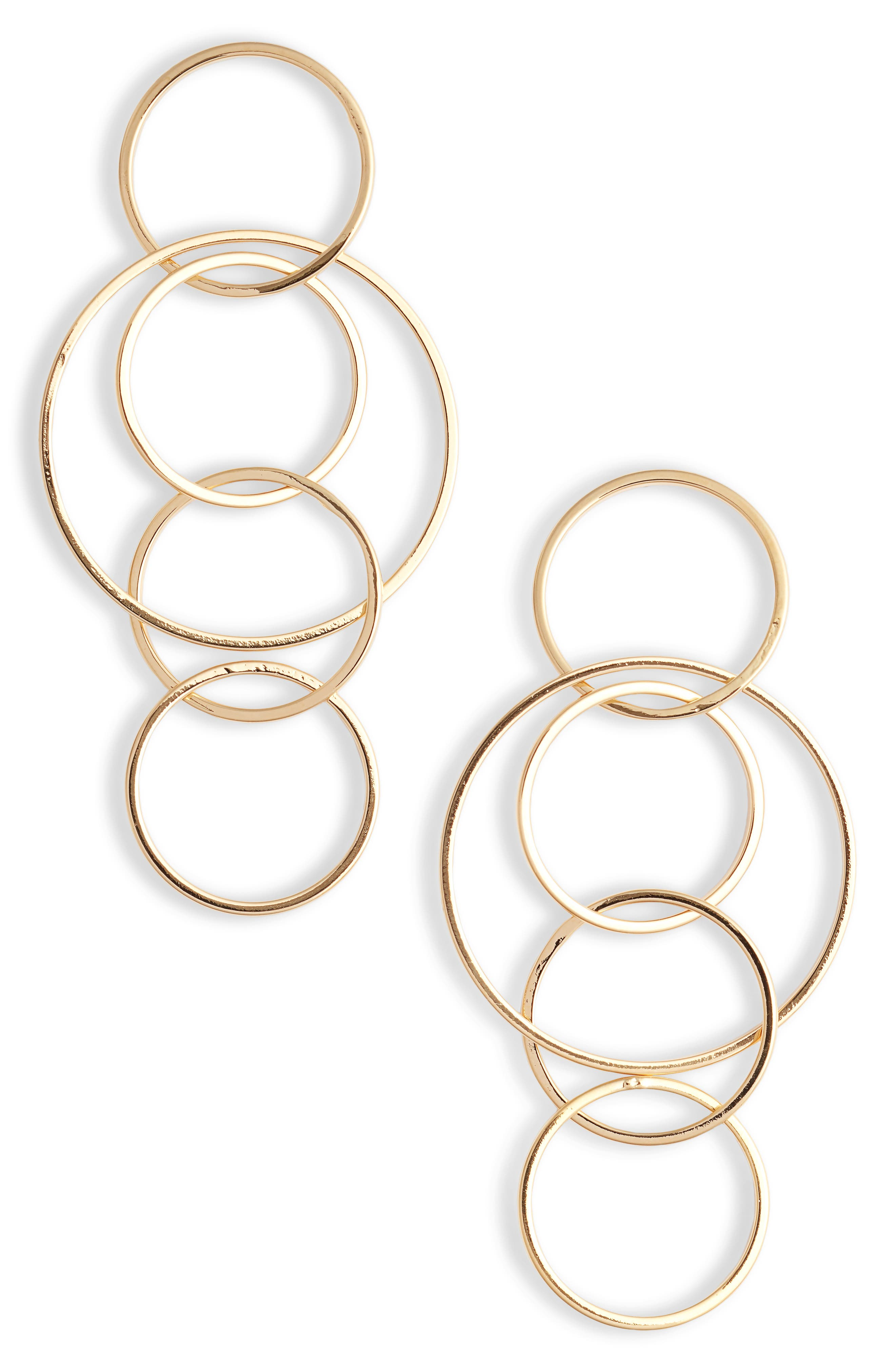 STERLING FOREVER,                             Linked Hoop Drop Earrings,                             Main thumbnail 1, color,                             GOLD