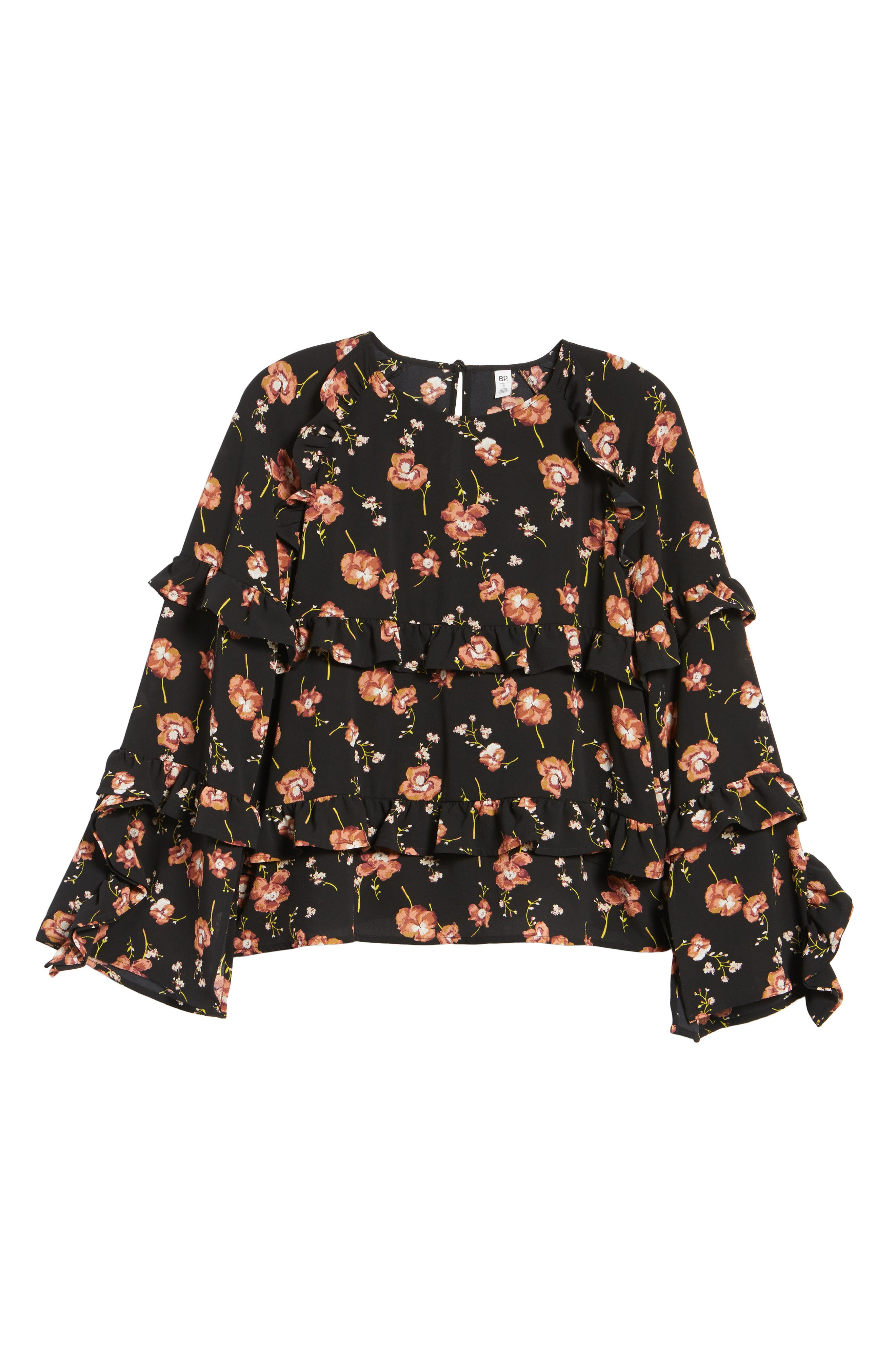 Print Ruffle Blouse,                             Alternate thumbnail 6, color,                             001