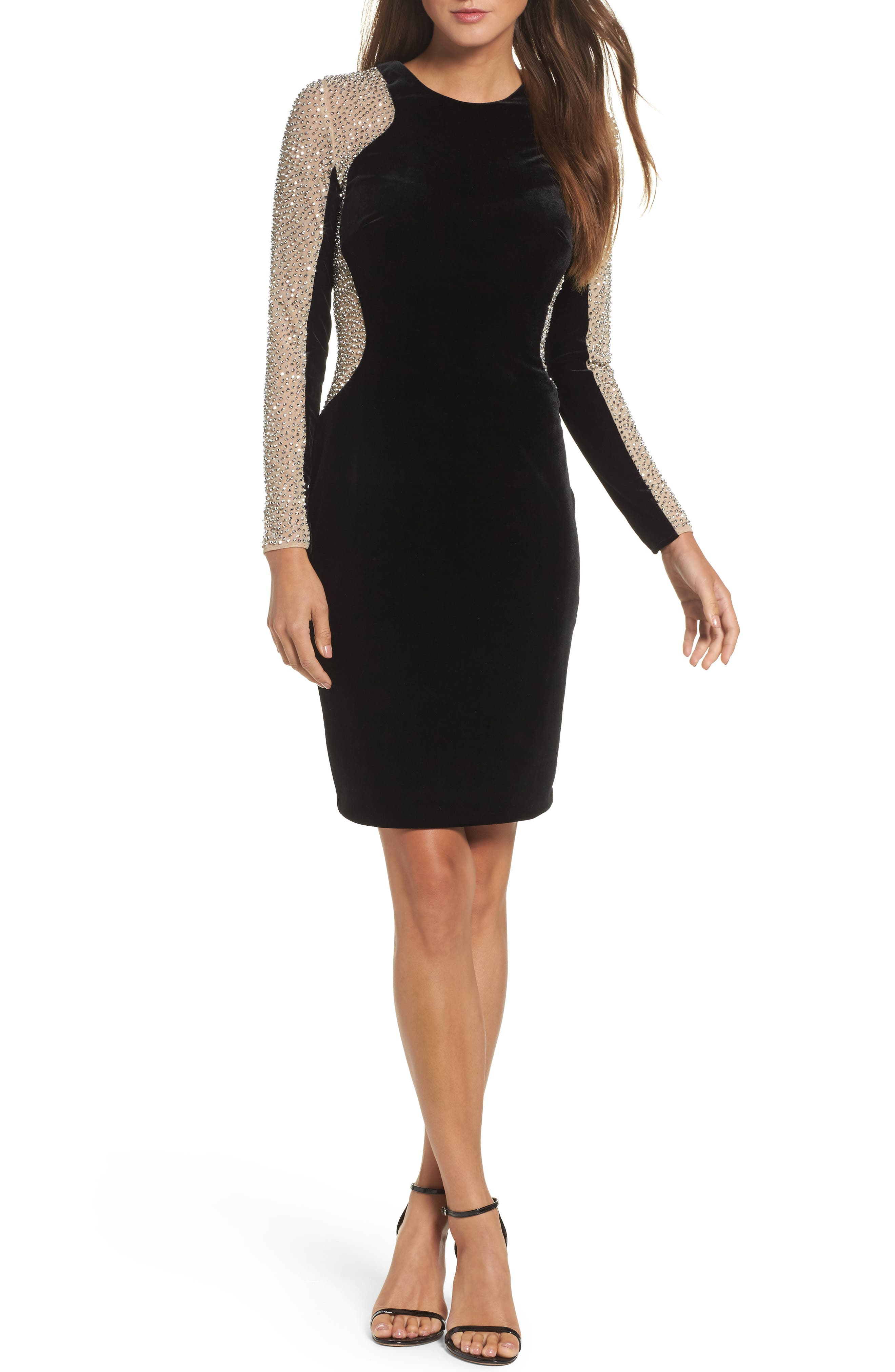 Caviar Bead Mesh Velvet Body-Con Dress,                         Main,                         color, BLACK/ NUDE/ SILVER