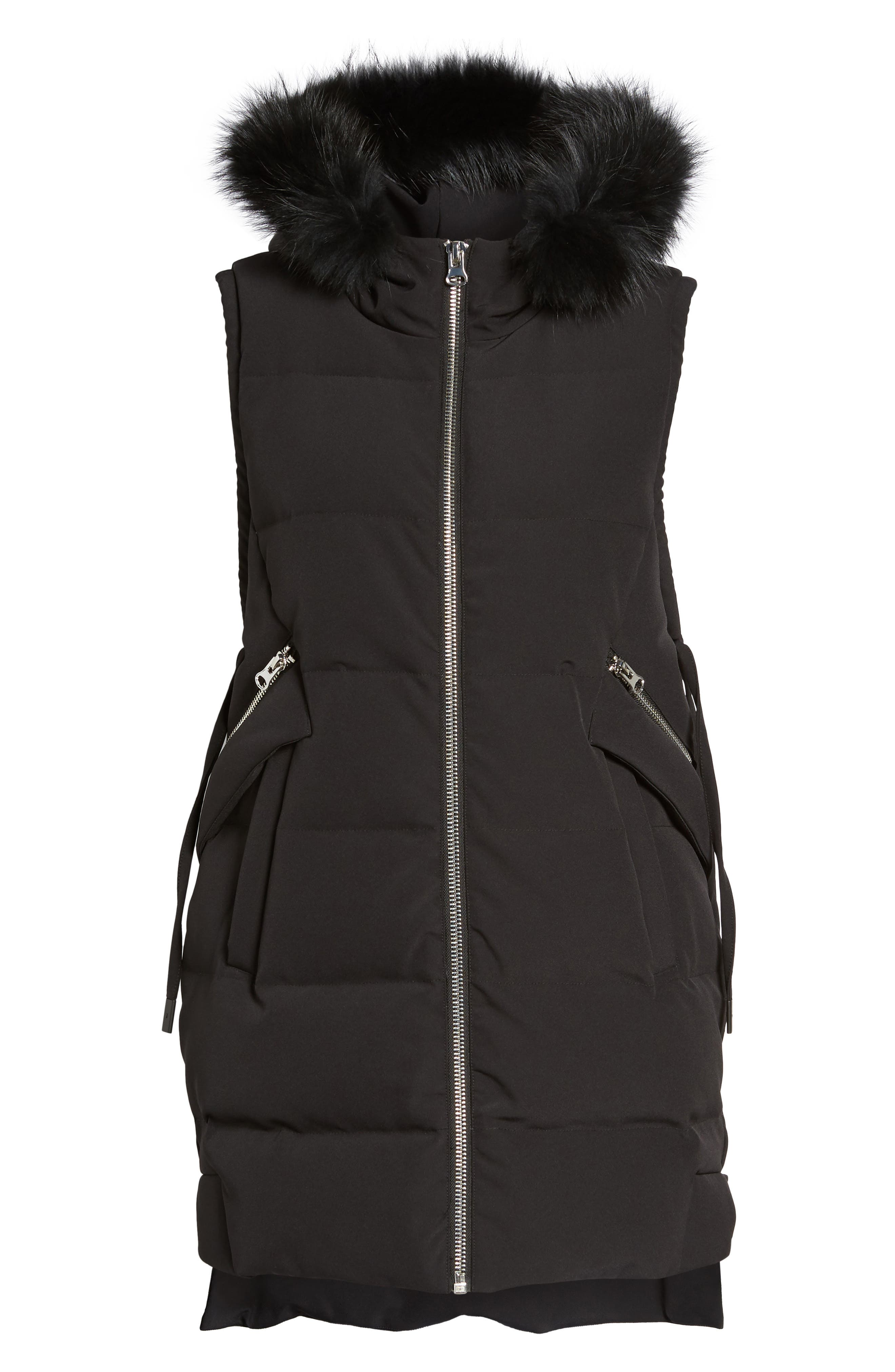 Down Vest with Genuine Fox Fur,                             Alternate thumbnail 5, color,                             001