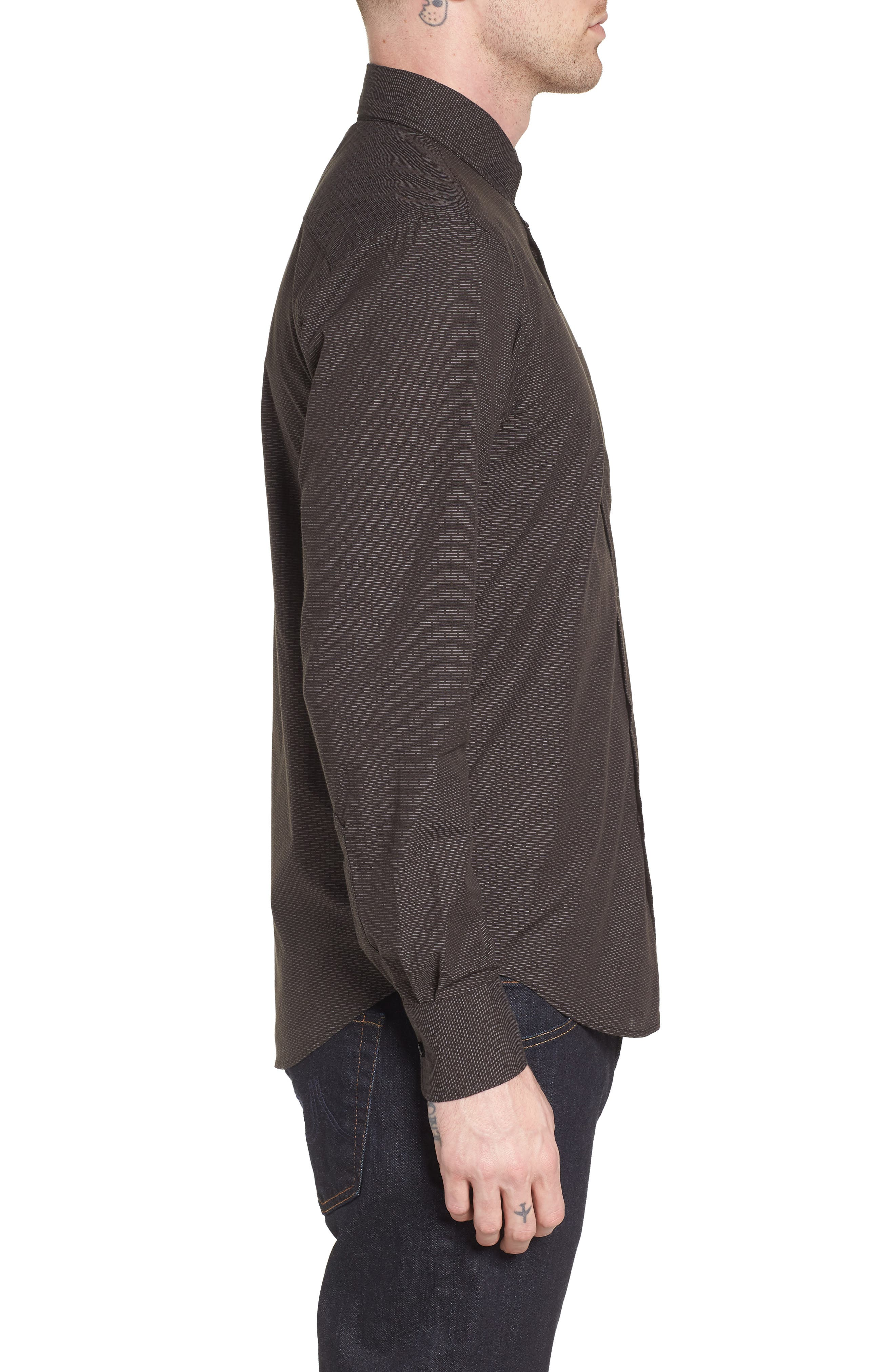 Naked & Famous Dobby Woven Shirt,                             Alternate thumbnail 3, color,                             001