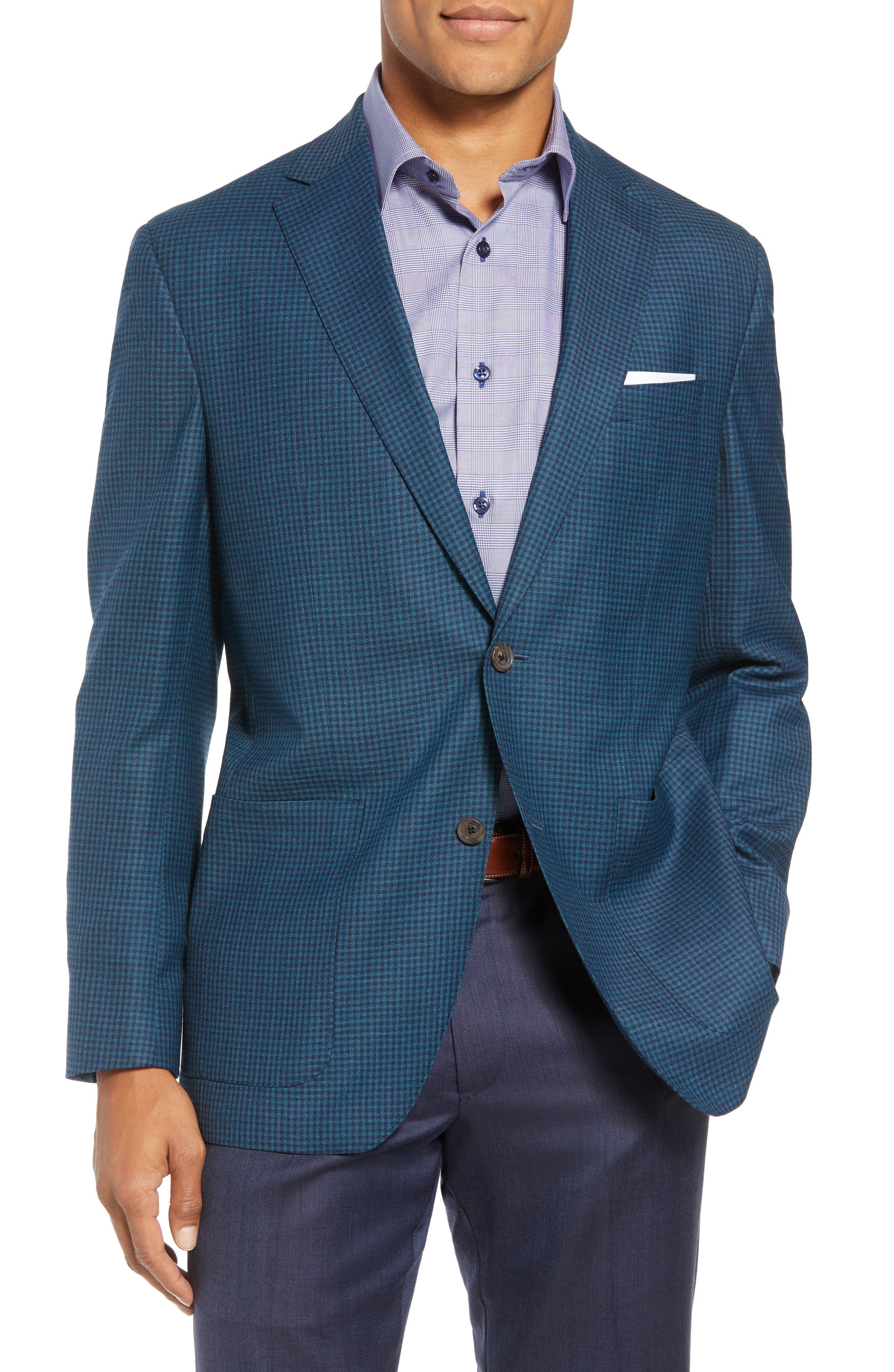 Aiden Classic Fit Check Wool Sport Coat,                         Main,                         color, GREEN