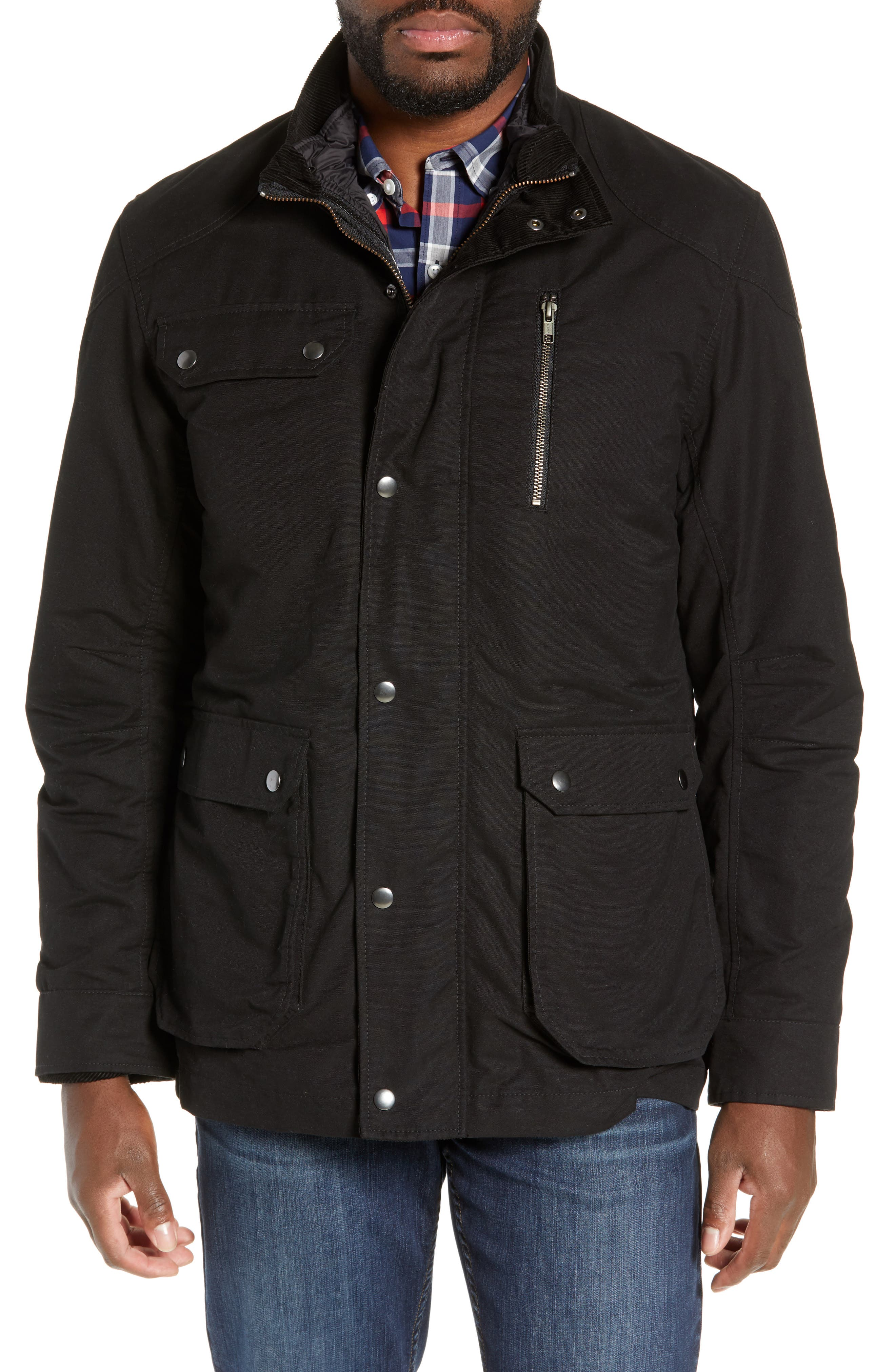 'Harper' Water Resistant 3-in-1 Waxed Canvas Jacket,                             Alternate thumbnail 6, color,                             ONYX