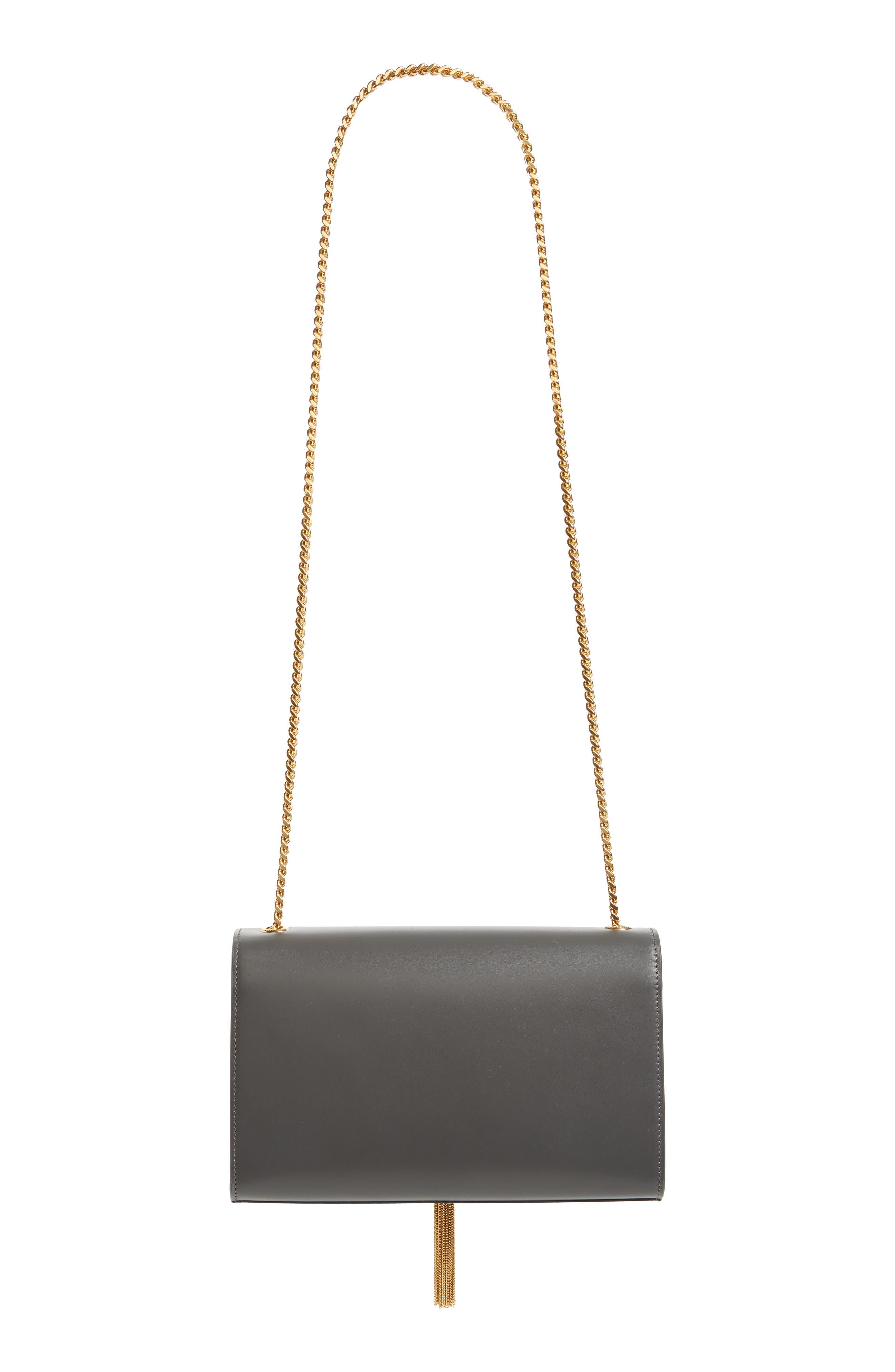'Medium Monogram' Leather Shoulder Bag,                             Alternate thumbnail 3, color,                             STORM