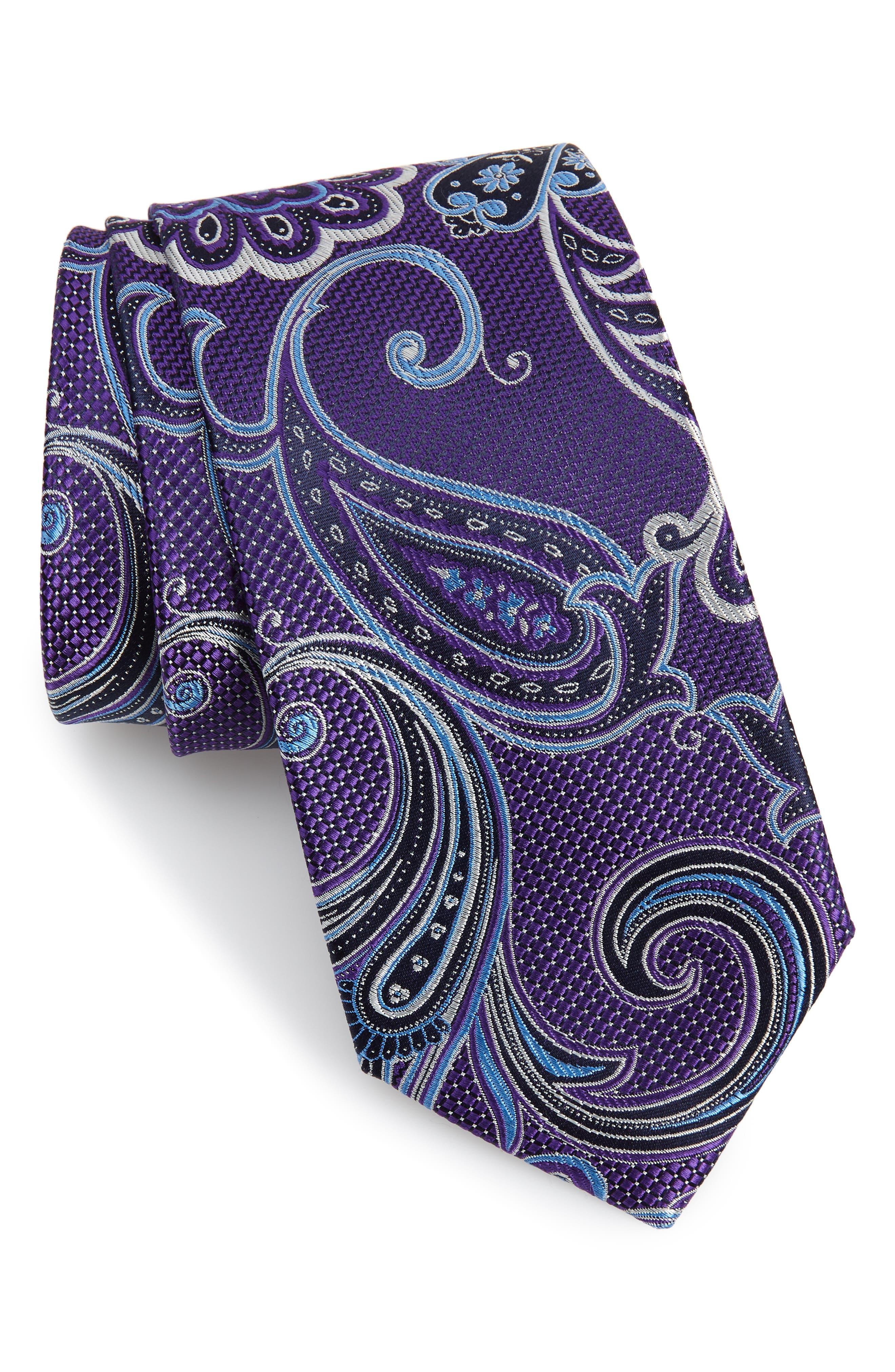 Bryce Paisley Silk Tie,                         Main,                         color, PURPLE