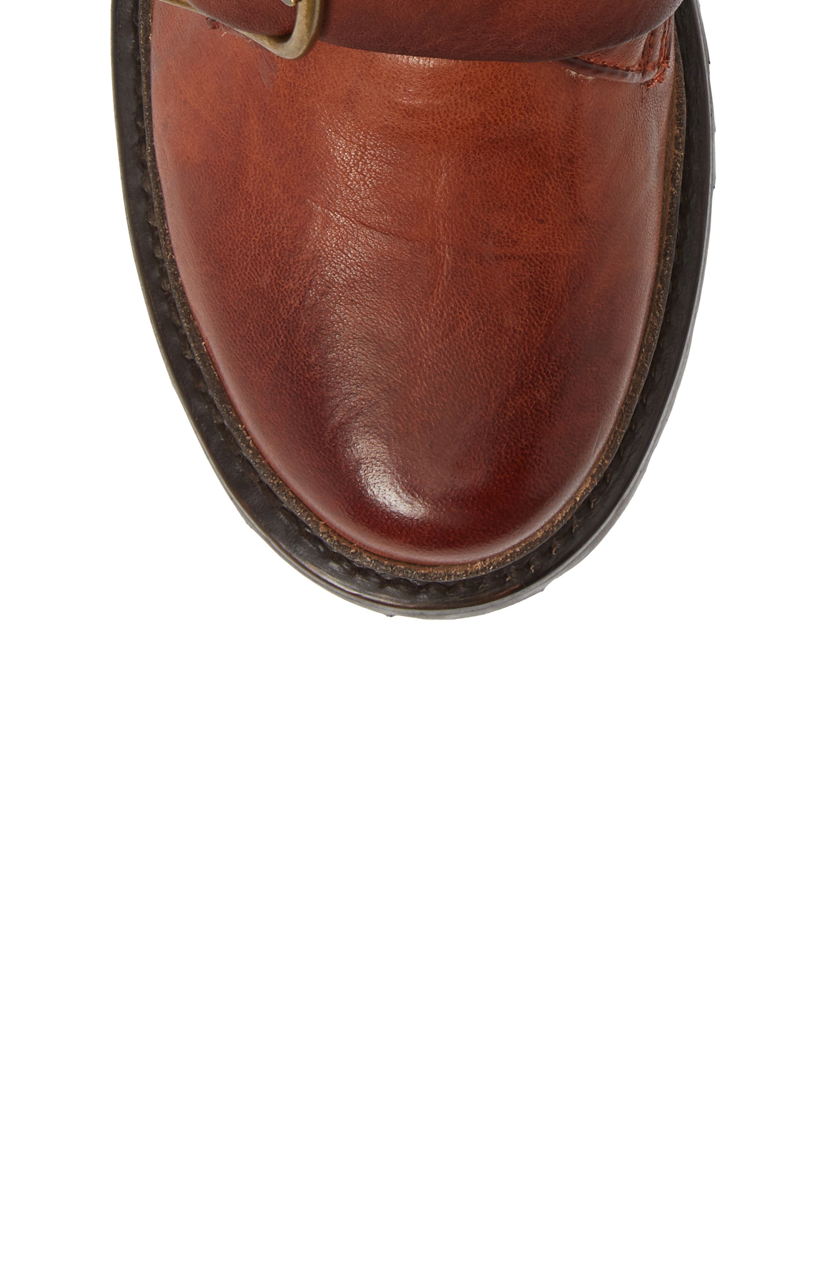 Vanessa Tanker Genuine Shearling Lined Boot,                             Alternate thumbnail 5, color,                             COGNAC LEATHER