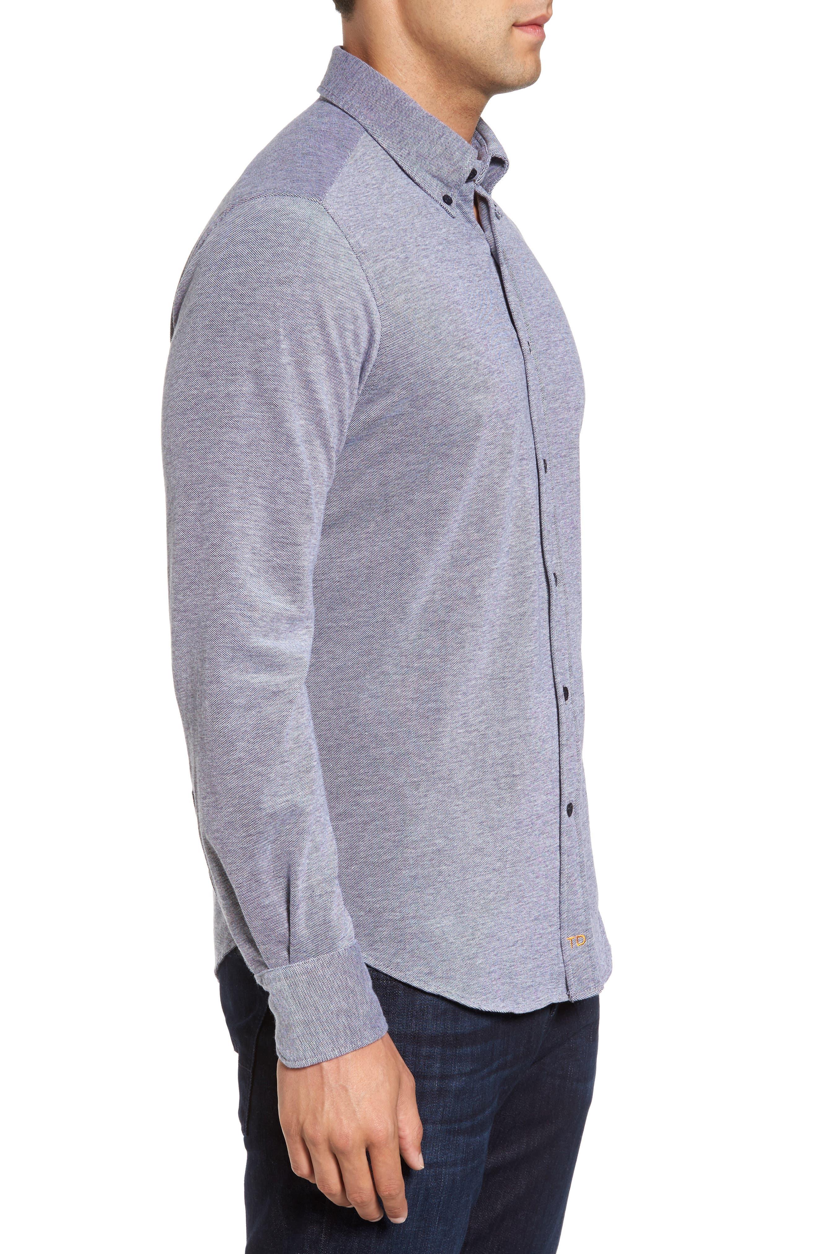Regular Fit Oxford Piqué Sport Shirt,                             Alternate thumbnail 3, color,