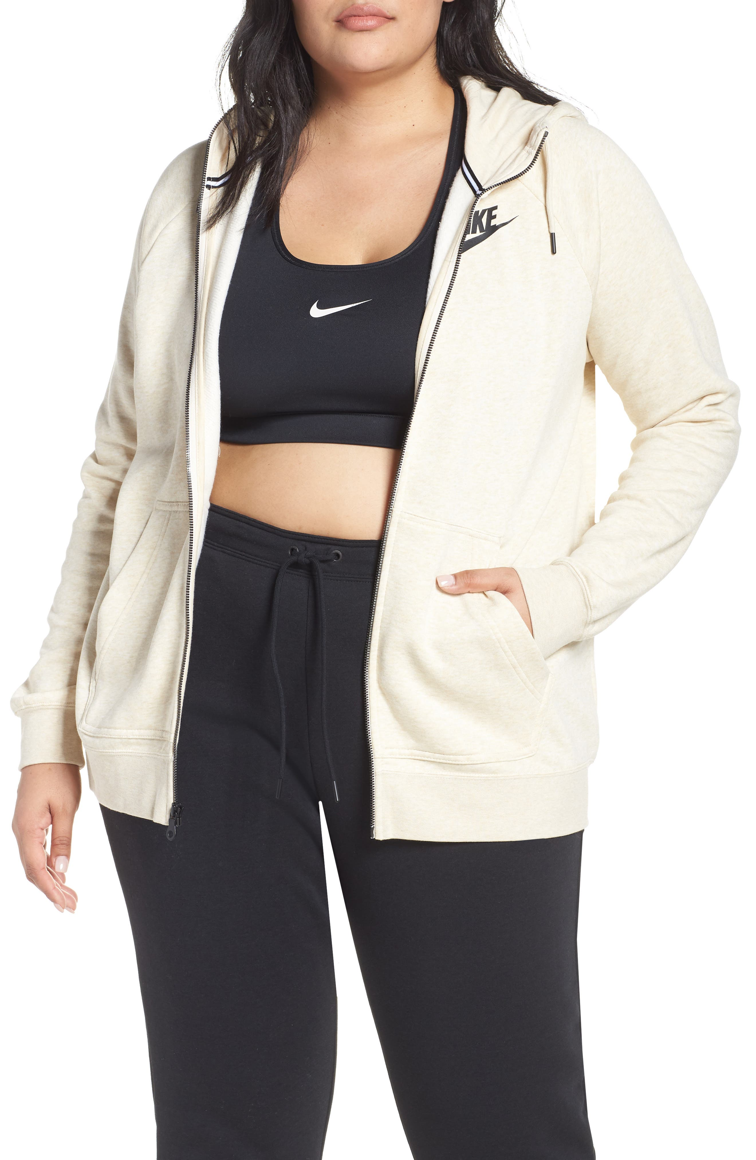 NSW Rally Hooded Jacket, Main, color, LIGHT CREAM/ HEATHER/ BLACK