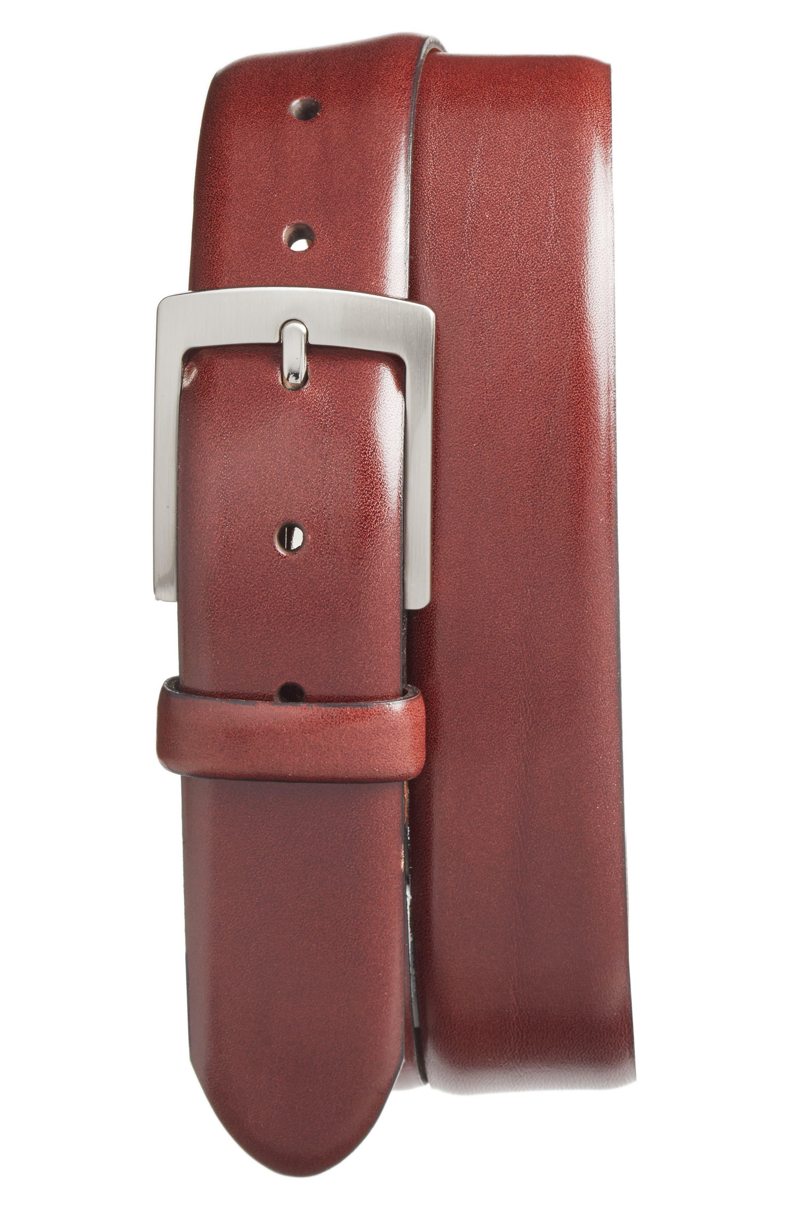 Heritage Leather Belt,                             Main thumbnail 1, color,                             DARK BROWN