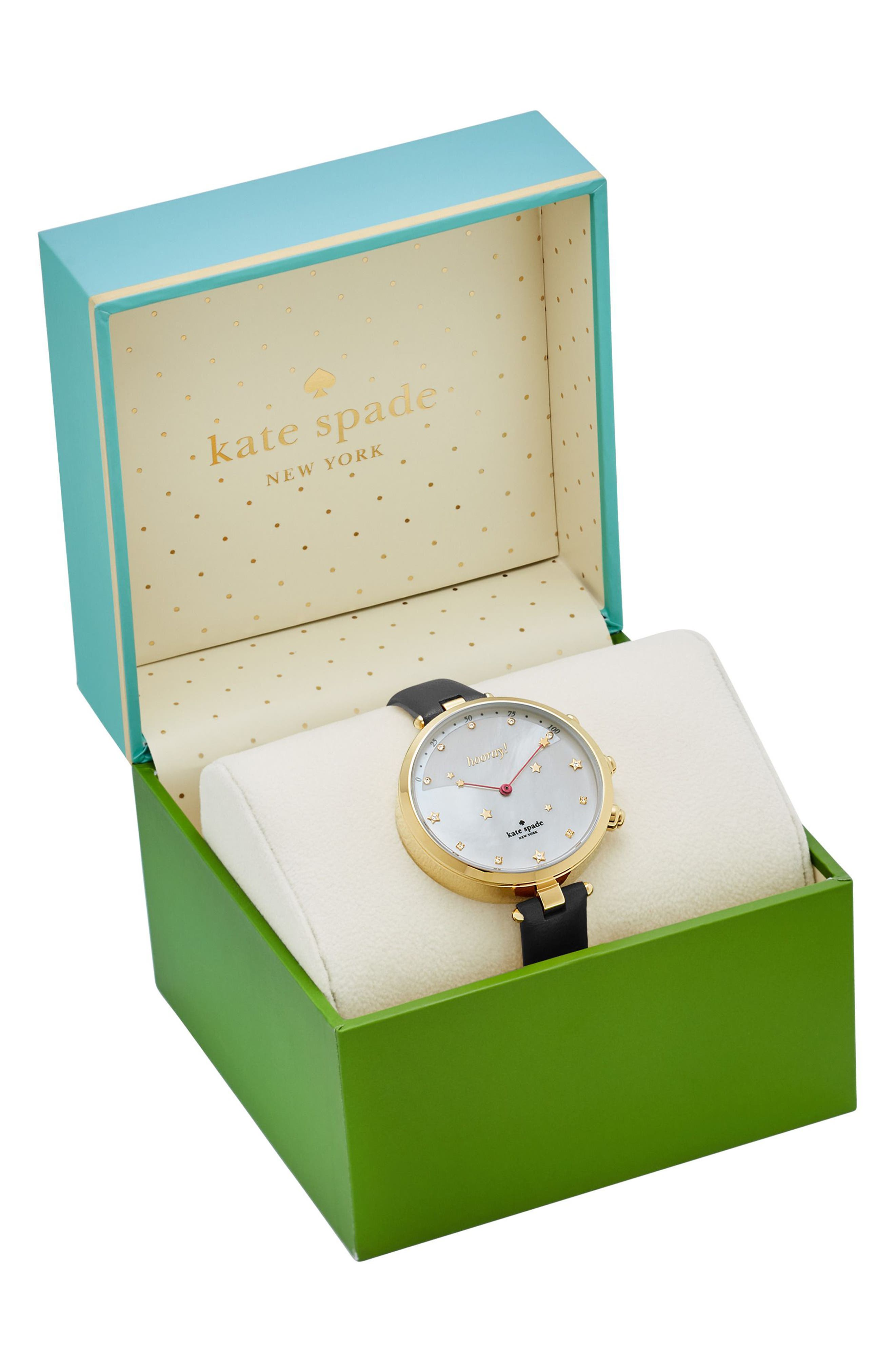 holland hybrid leather strap watch, 37mm,                             Alternate thumbnail 4, color,                             002