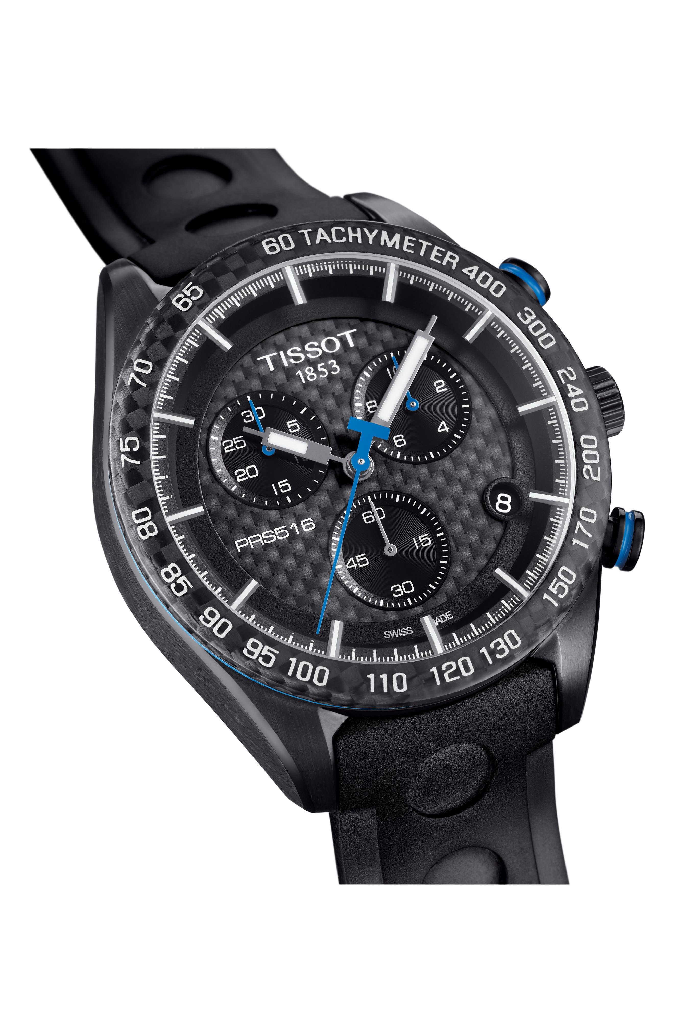 PRS516 Chronograph Rubber Strap Watch, 42mm,                             Alternate thumbnail 2, color,                             BLACK