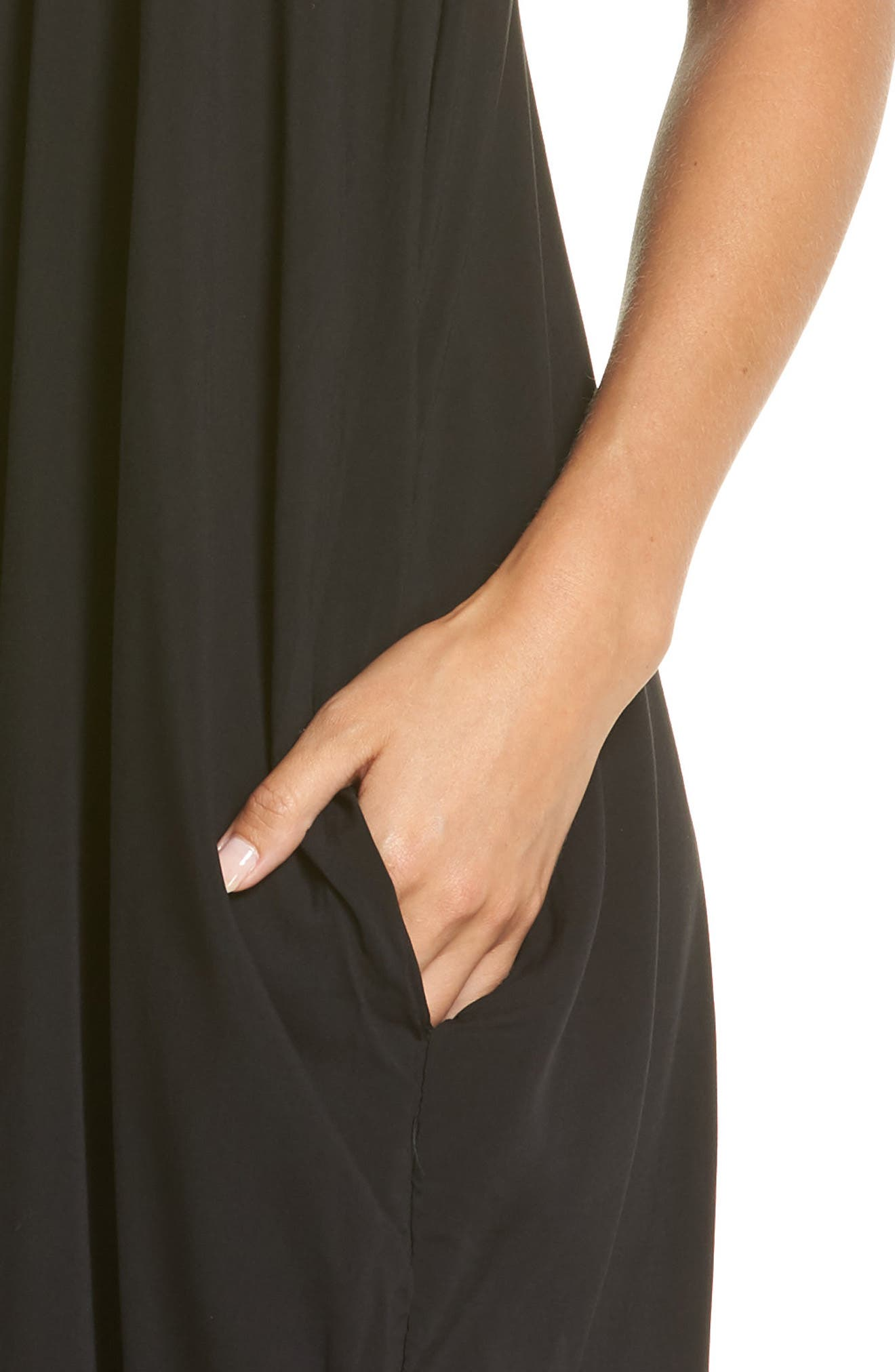 V-Back Cover-Up Maxi Dress,                             Alternate thumbnail 4, color,                             BLACK