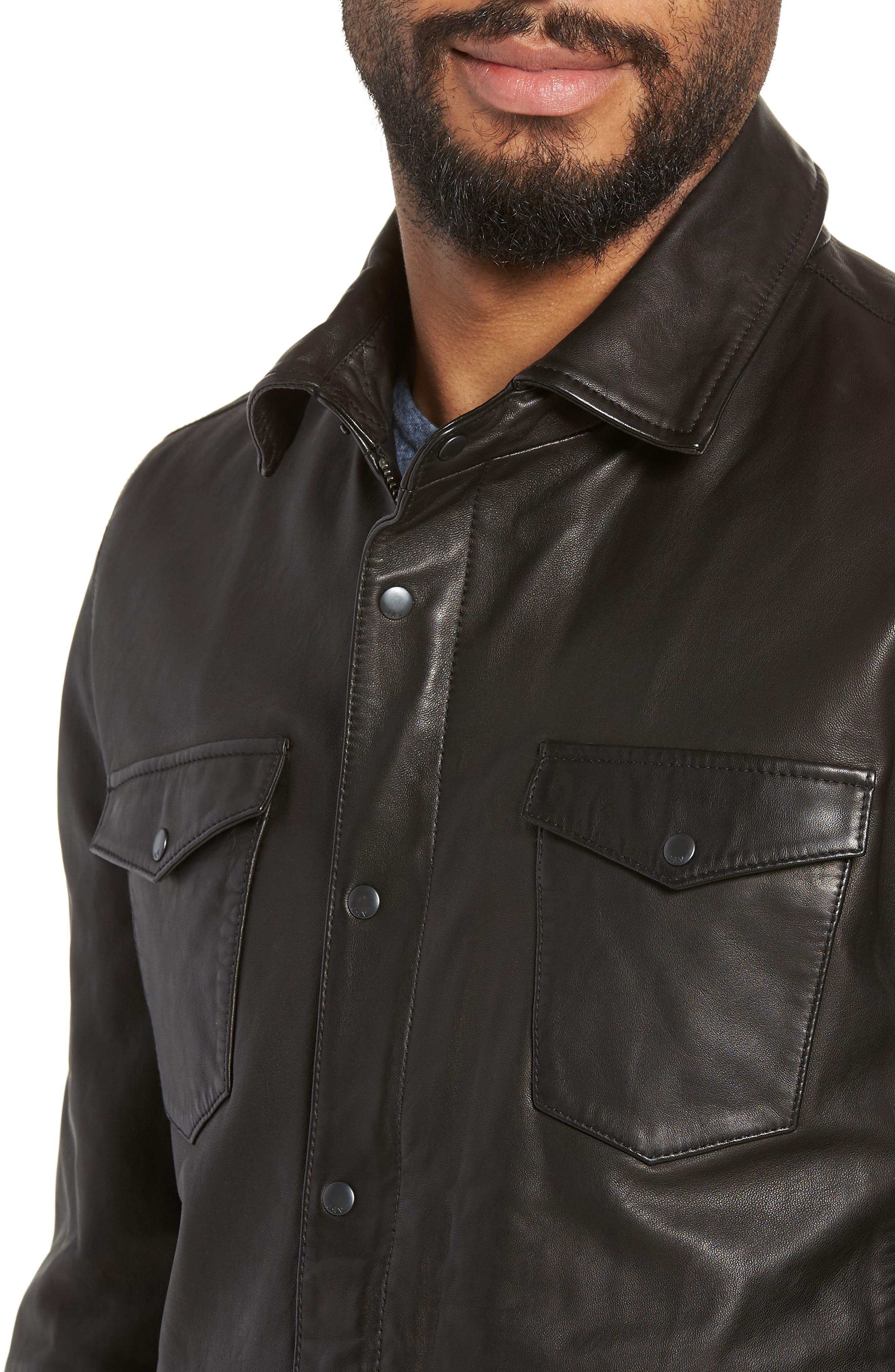 Oiled Lambskin Leather Shirt Jacket,                             Alternate thumbnail 4, color,                             001