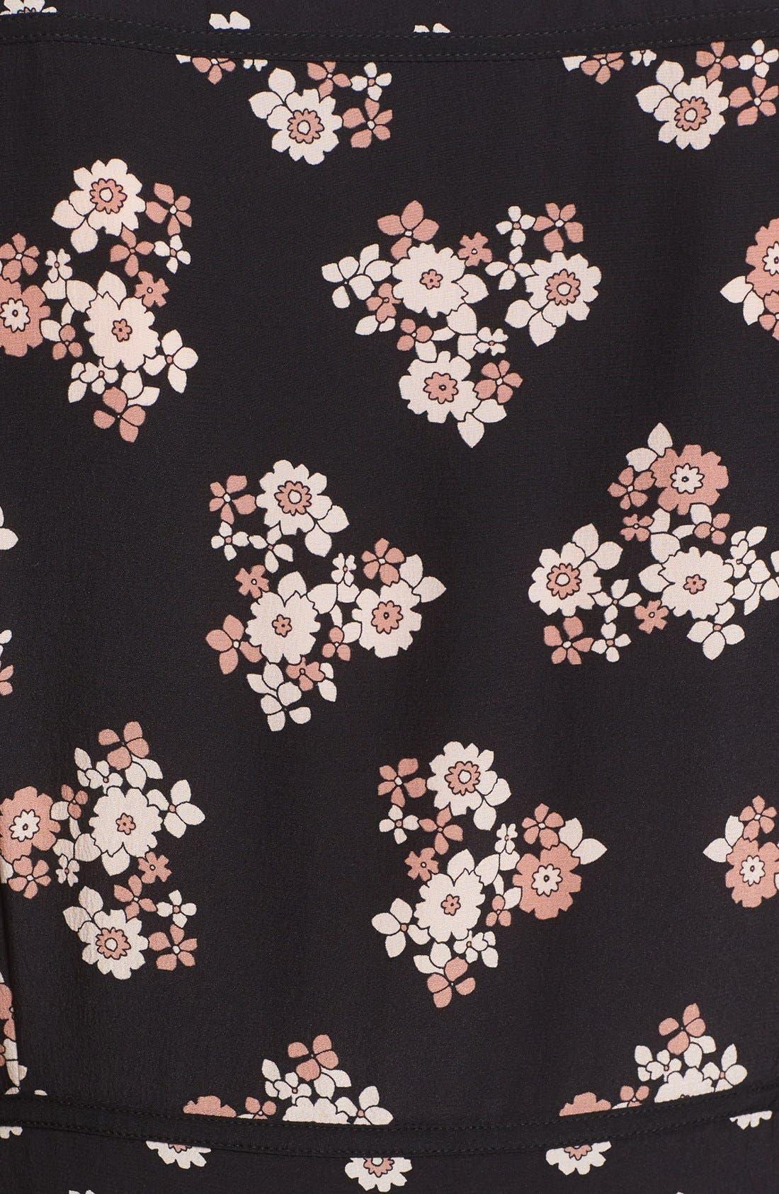 ditsy print silk midi dress,                             Alternate thumbnail 6, color,                             001