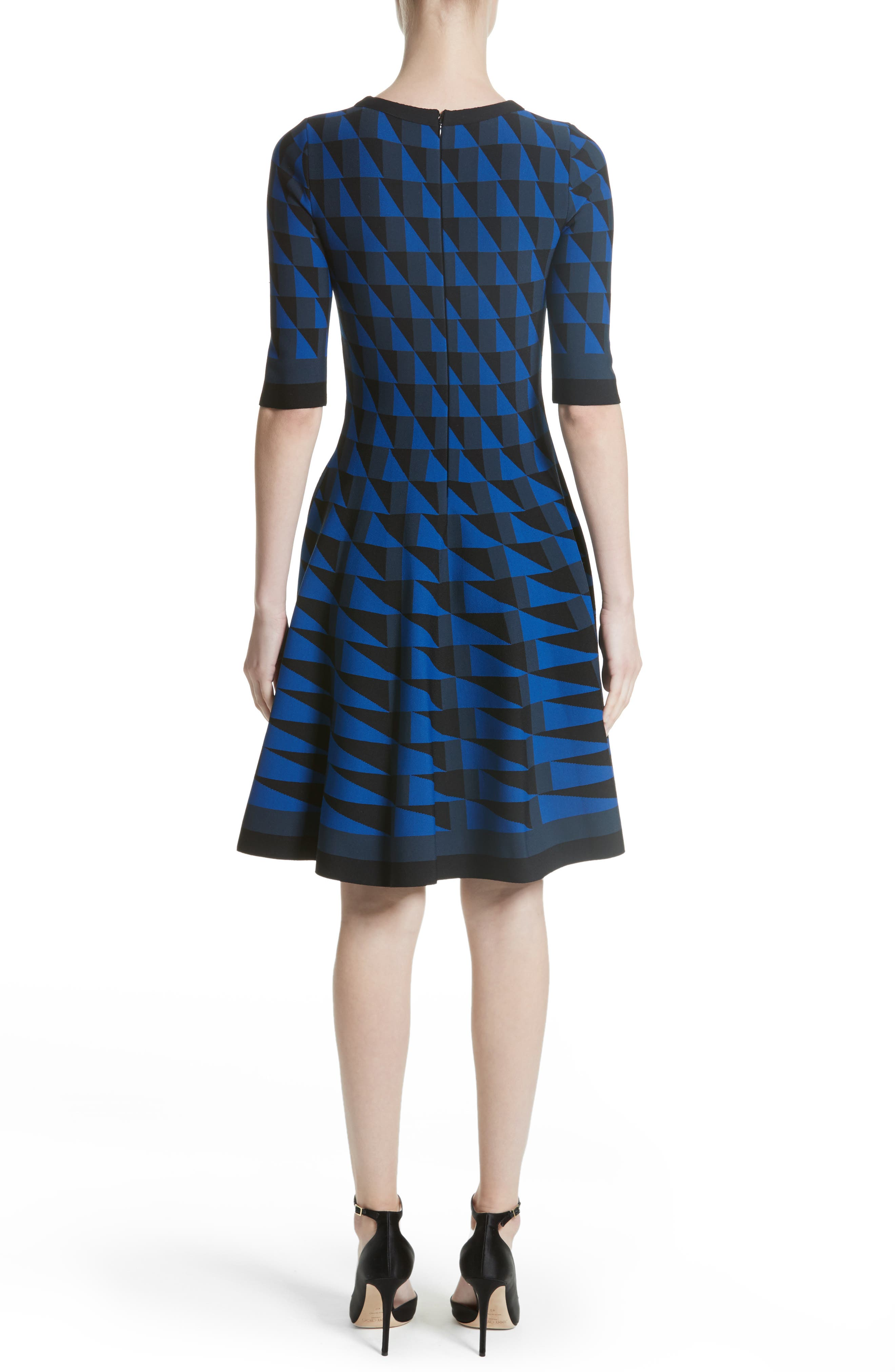 Graphic Compact Knit Fit & Flare Dress,                             Alternate thumbnail 2, color,                             400