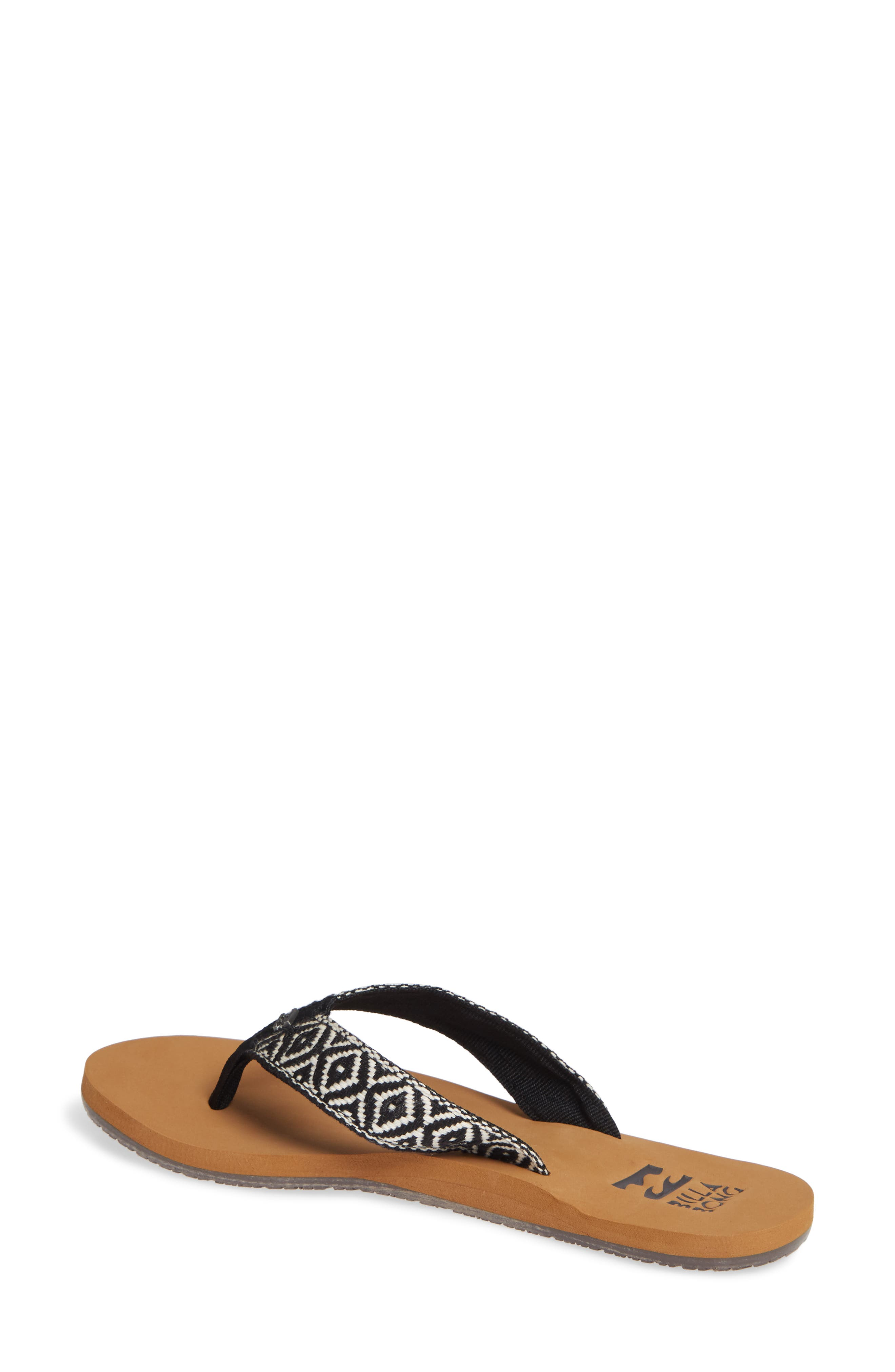 Baja Flip Flop,                             Alternate thumbnail 2, color,                             BLACK/ WHITE