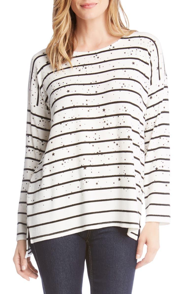 Karen Kane Sweaters STAR PRINTED STRIPE SWEATER