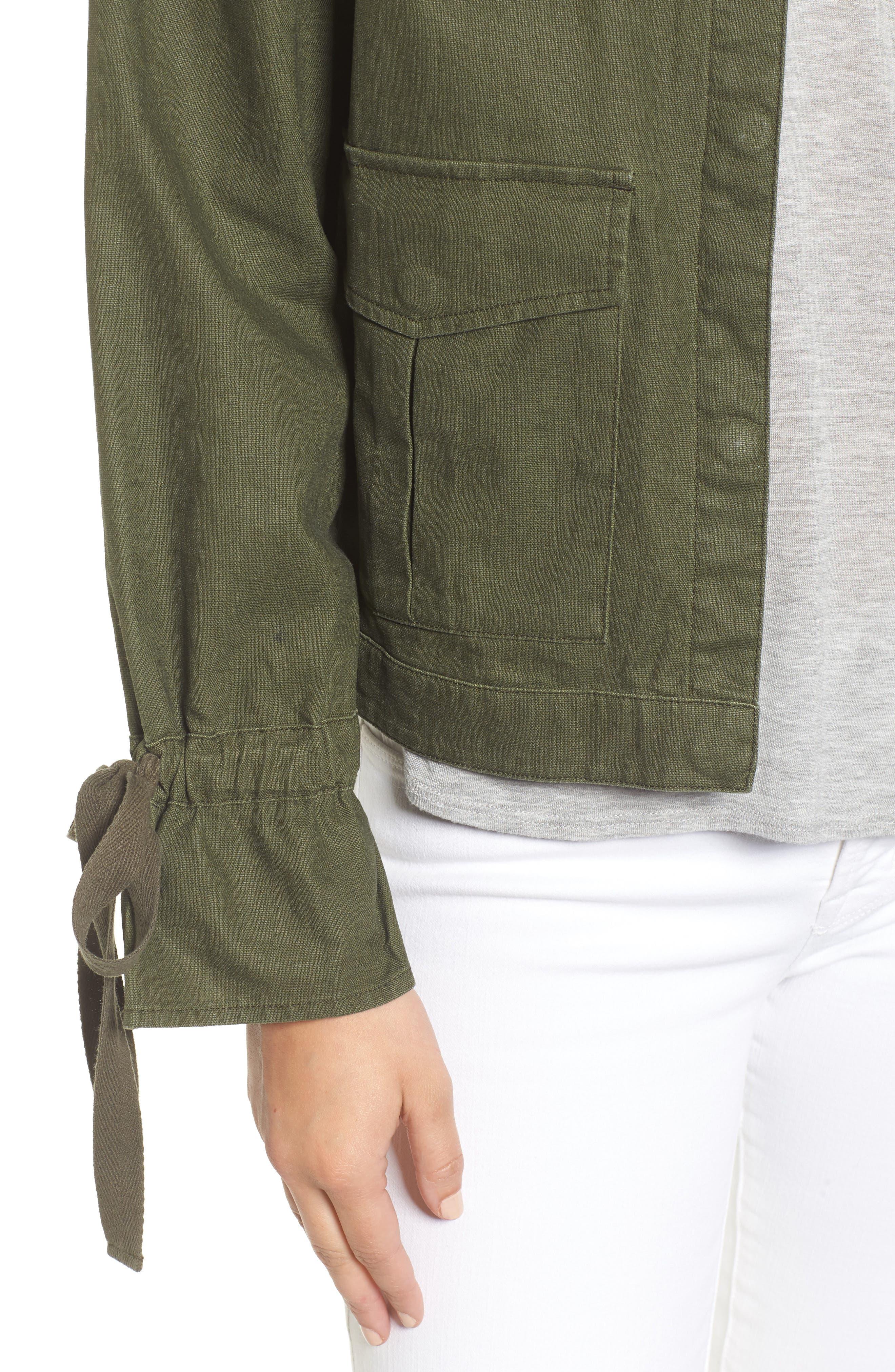 Tie Sleeve Linen & Cotton Jacket,                             Alternate thumbnail 11, color,