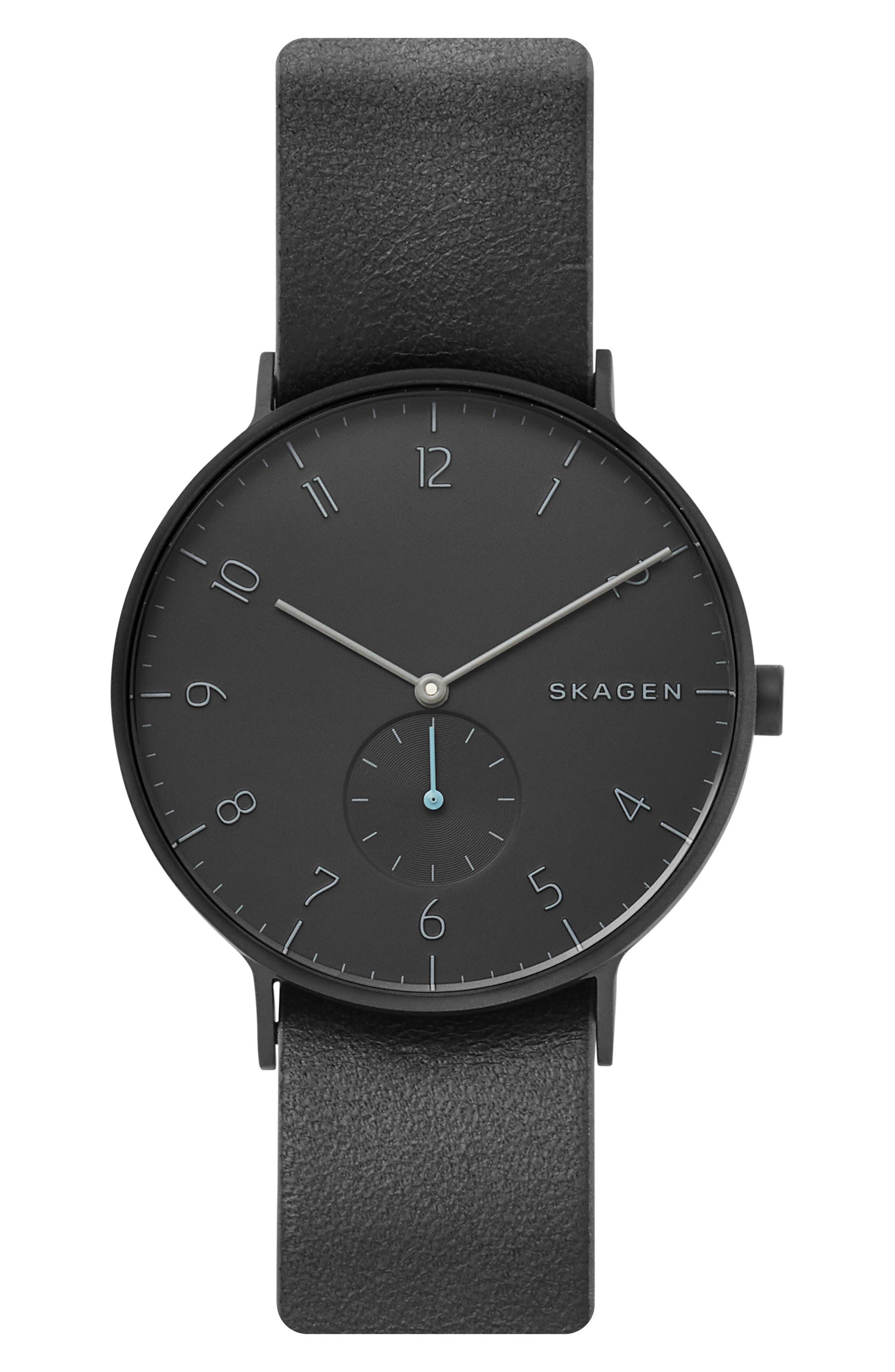 Aaren Reversible Leather Strap Watch, 40mm,                             Alternate thumbnail 5, color,                             BLACK