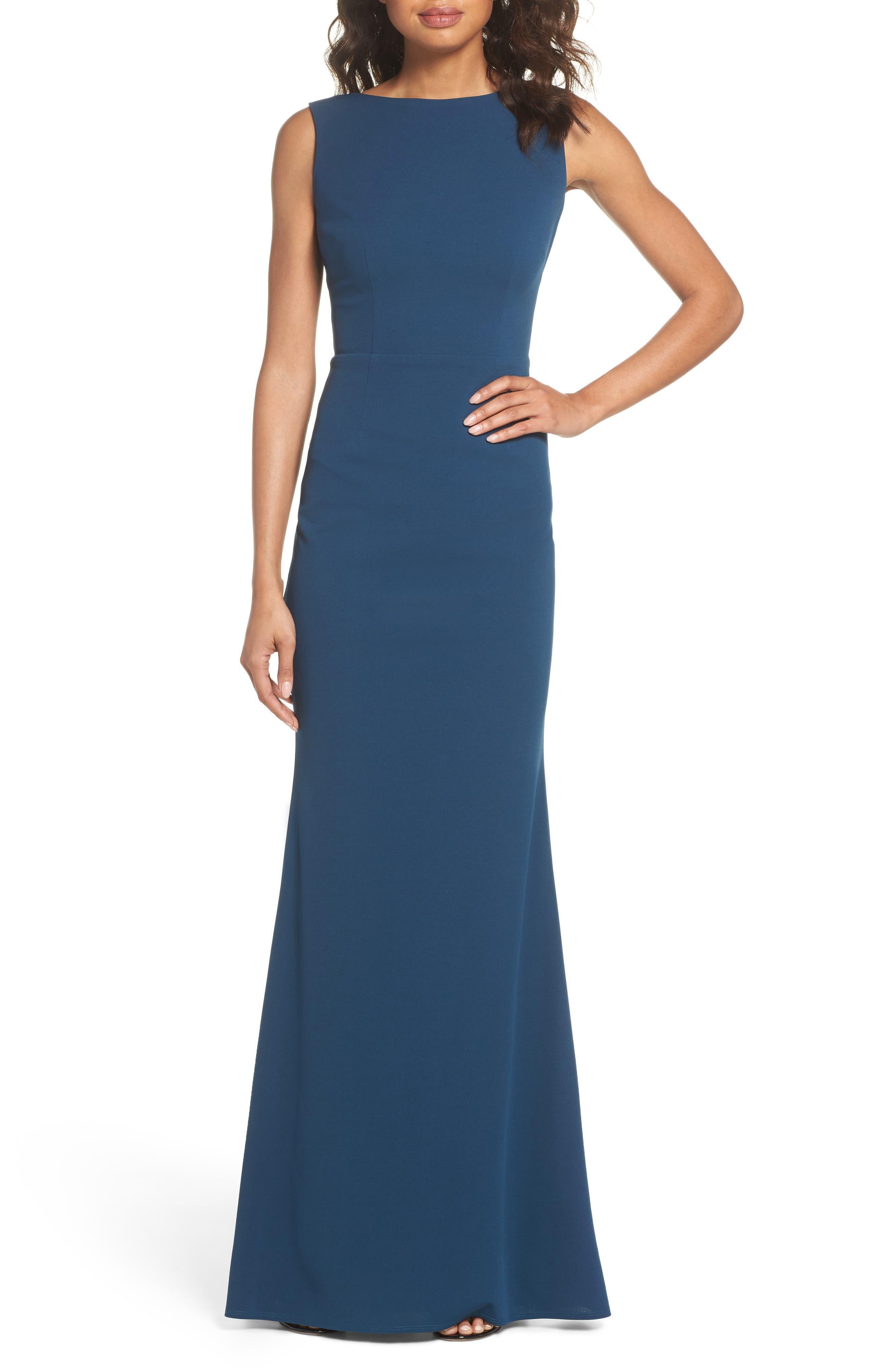 Vionnet Drape Back Crepe Gown,                         Main,                         color, TEAL