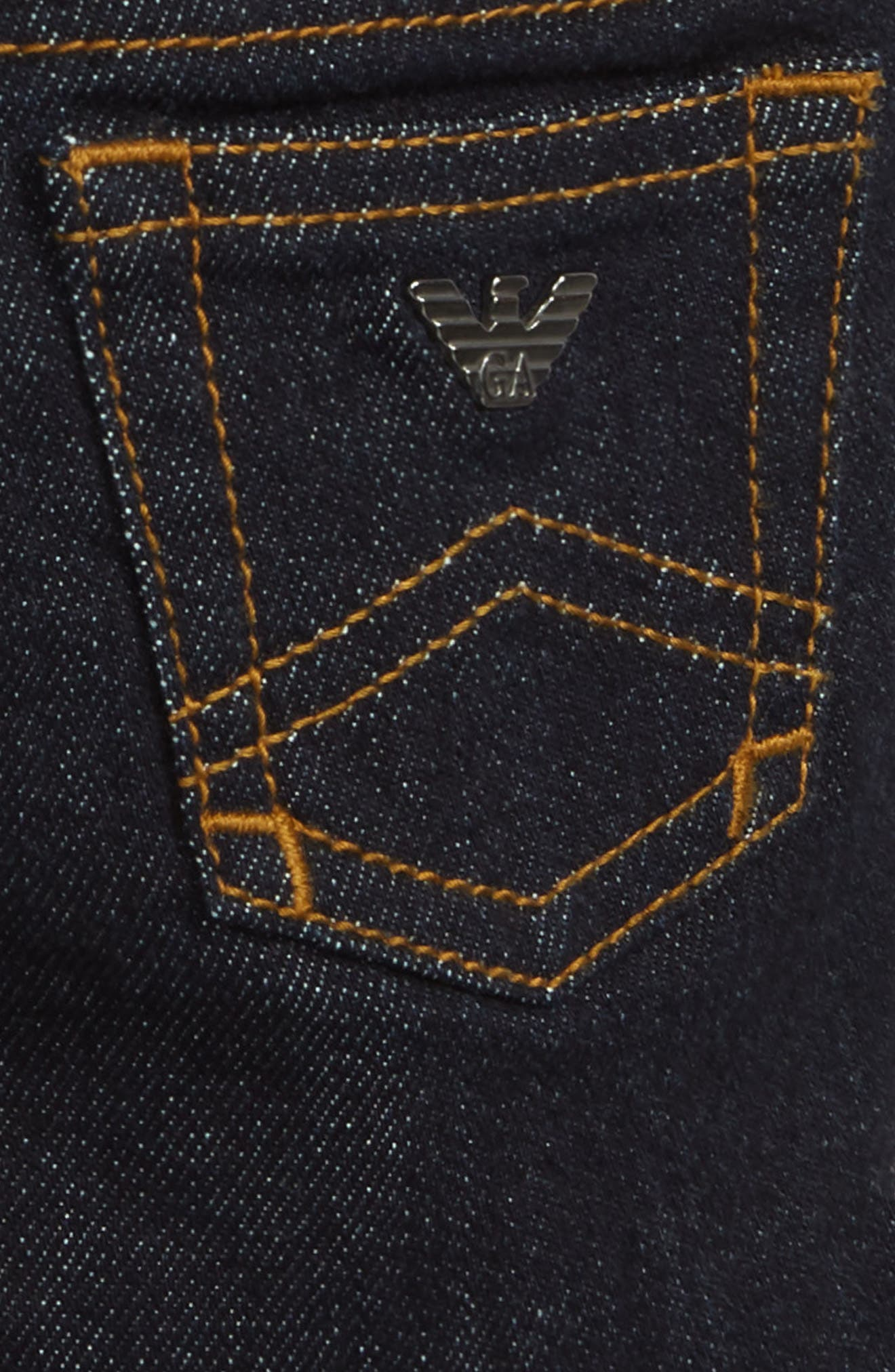 Elastic Waist Jeans,                             Alternate thumbnail 3, color,                             SOLID DARK BLUE