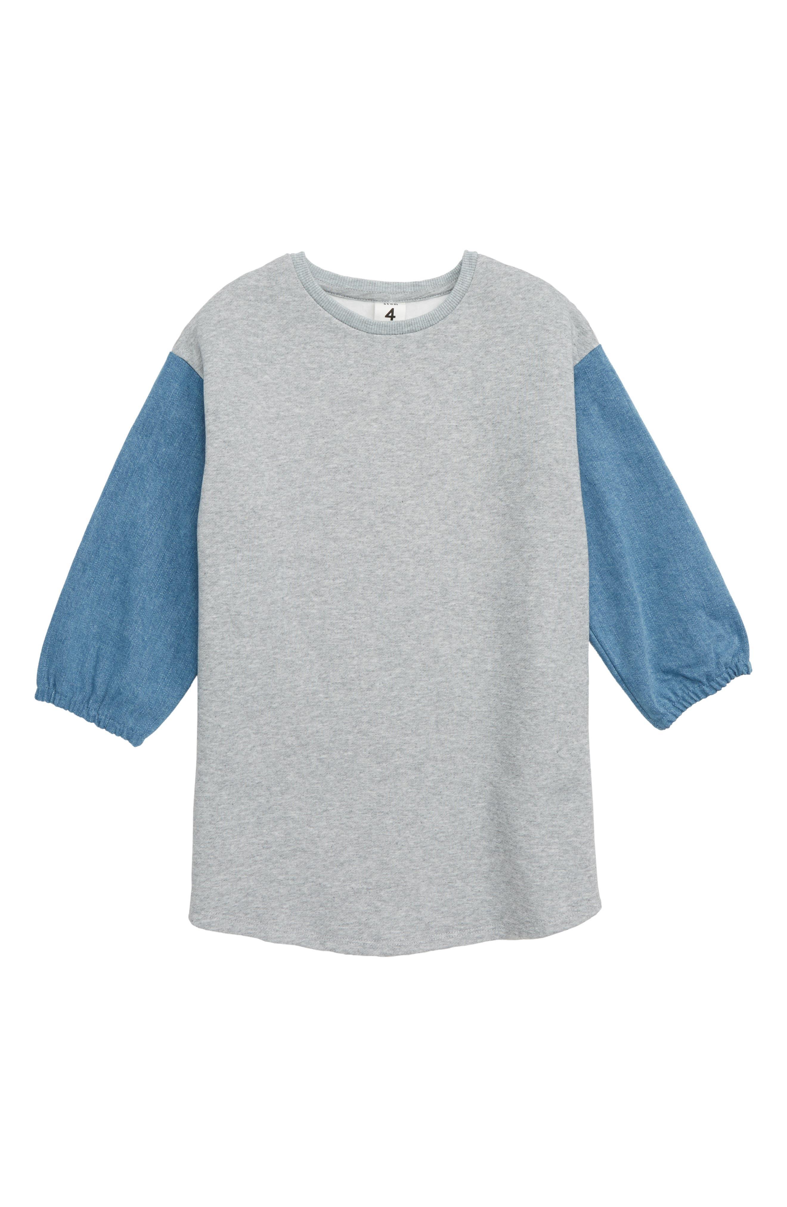 Denim Puff Sleeve Sweatshirt Dress,                         Main,                         color, 030