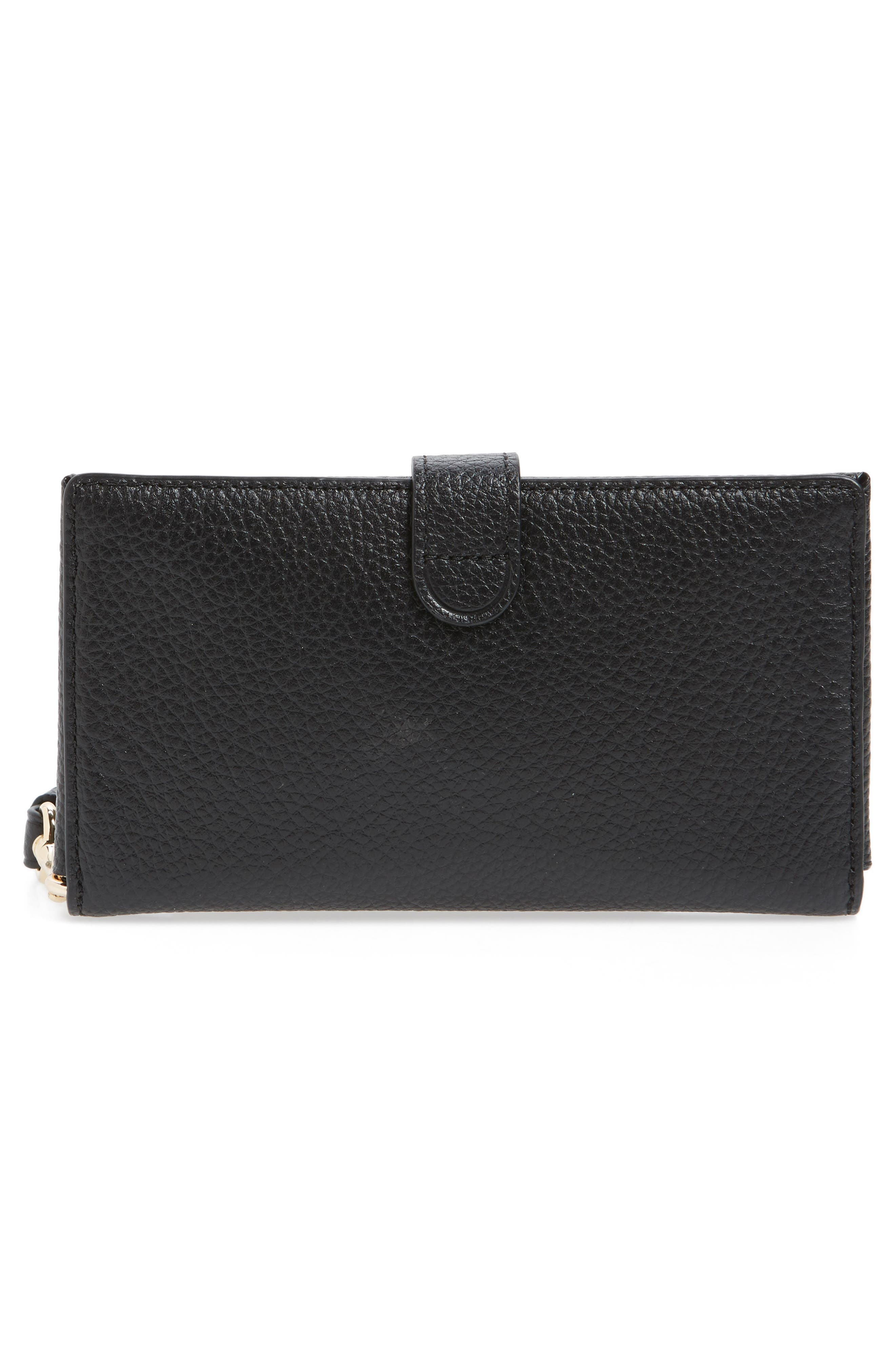 Calfskin Leather Phone Wristlet,                             Alternate thumbnail 3, color,                             001