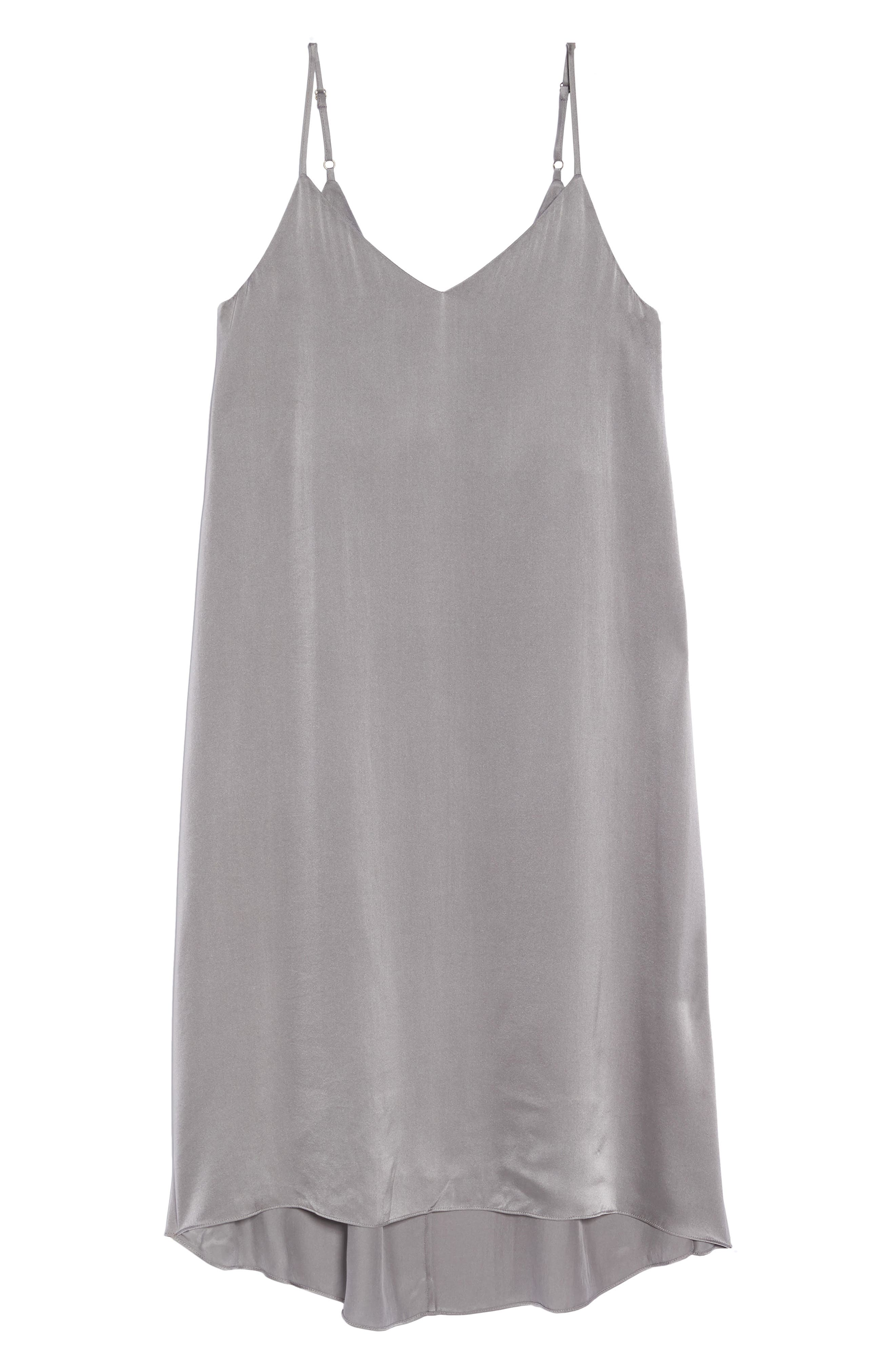 Silk Nightgown,                             Alternate thumbnail 6, color,                             CHARCOAL