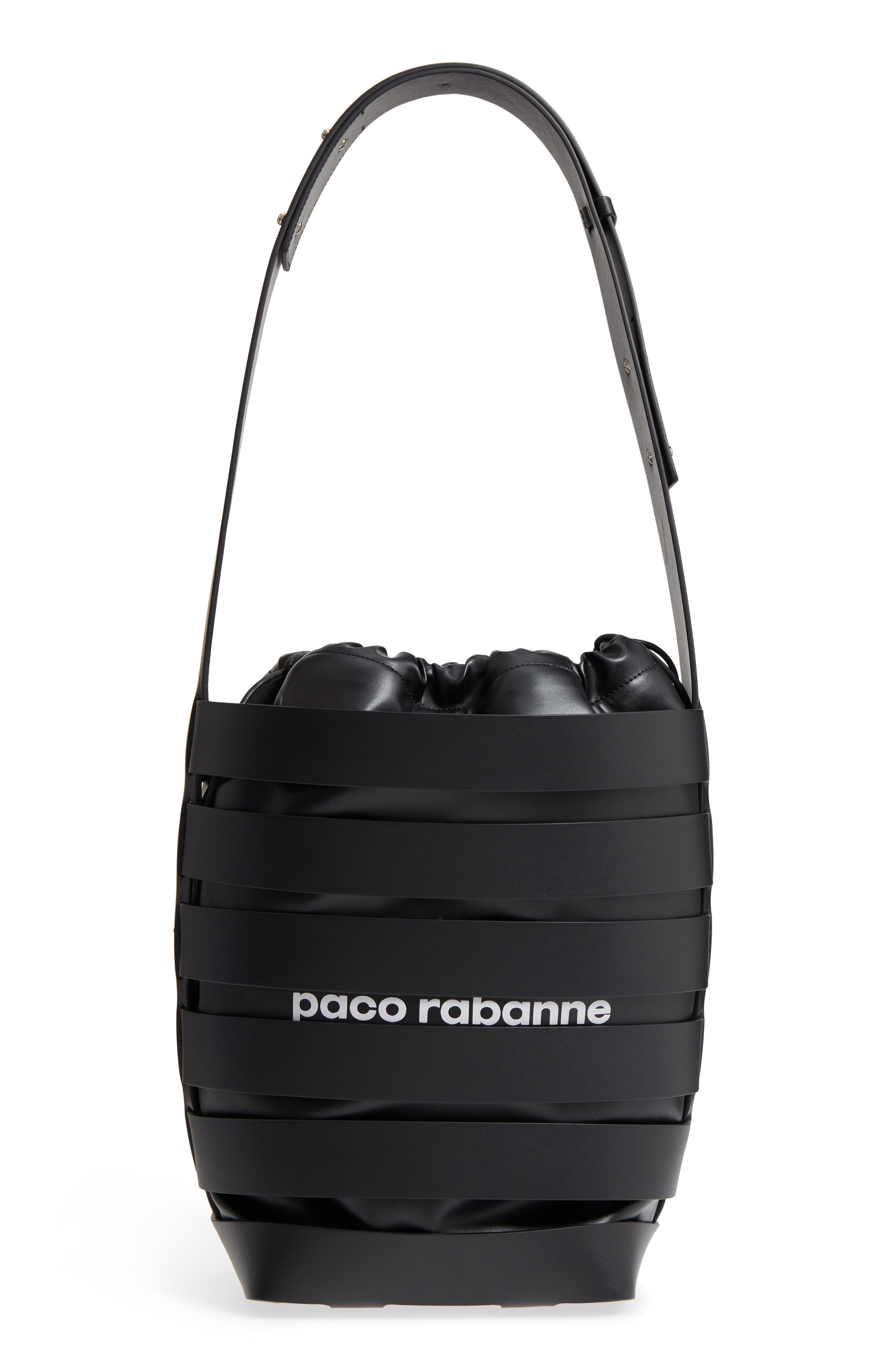 Medium Cage Leather Bucket Bag,                             Main thumbnail 1, color,                             001