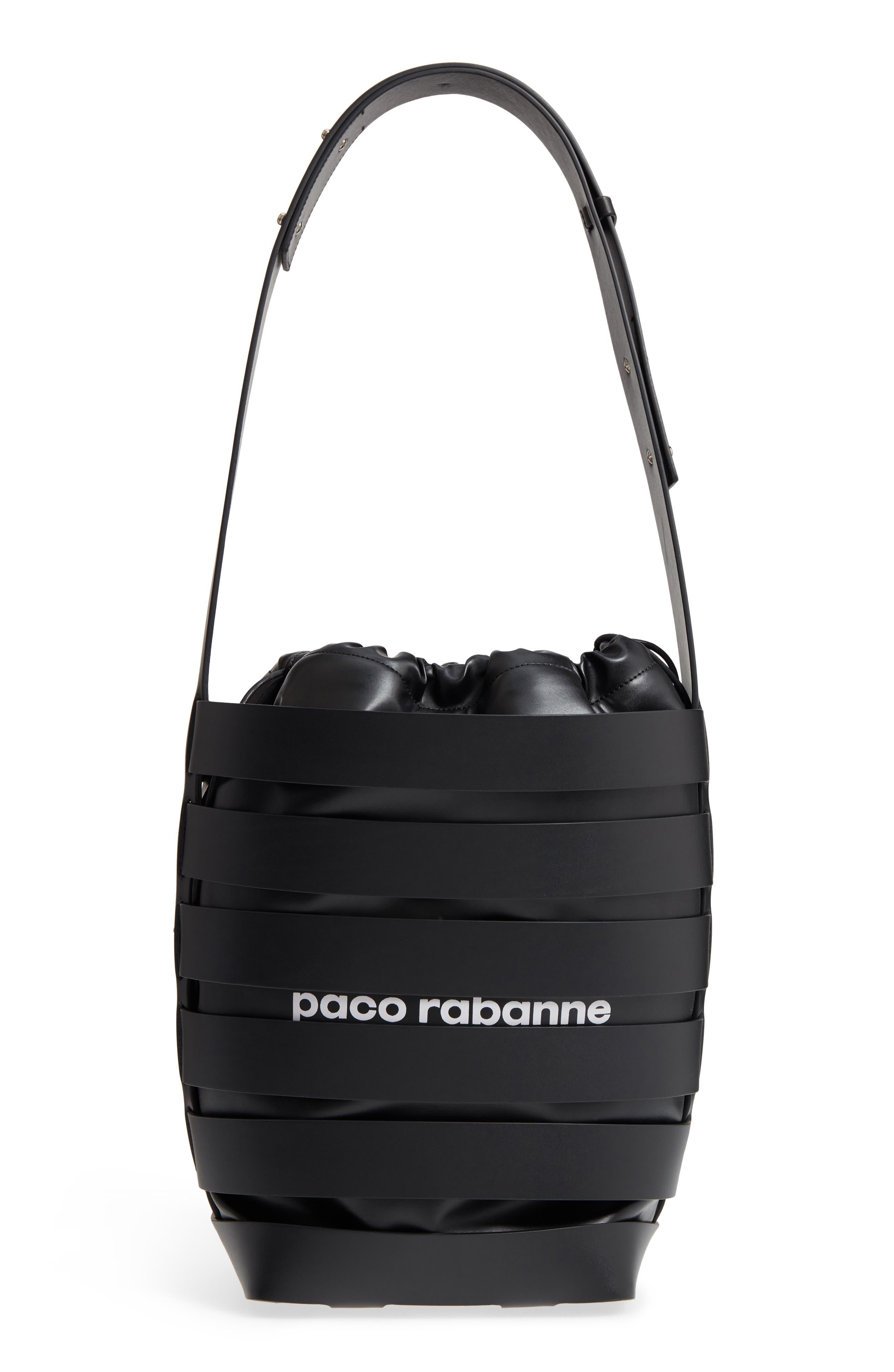 Medium Cage Leather Bucket Bag,                         Main,                         color, 001
